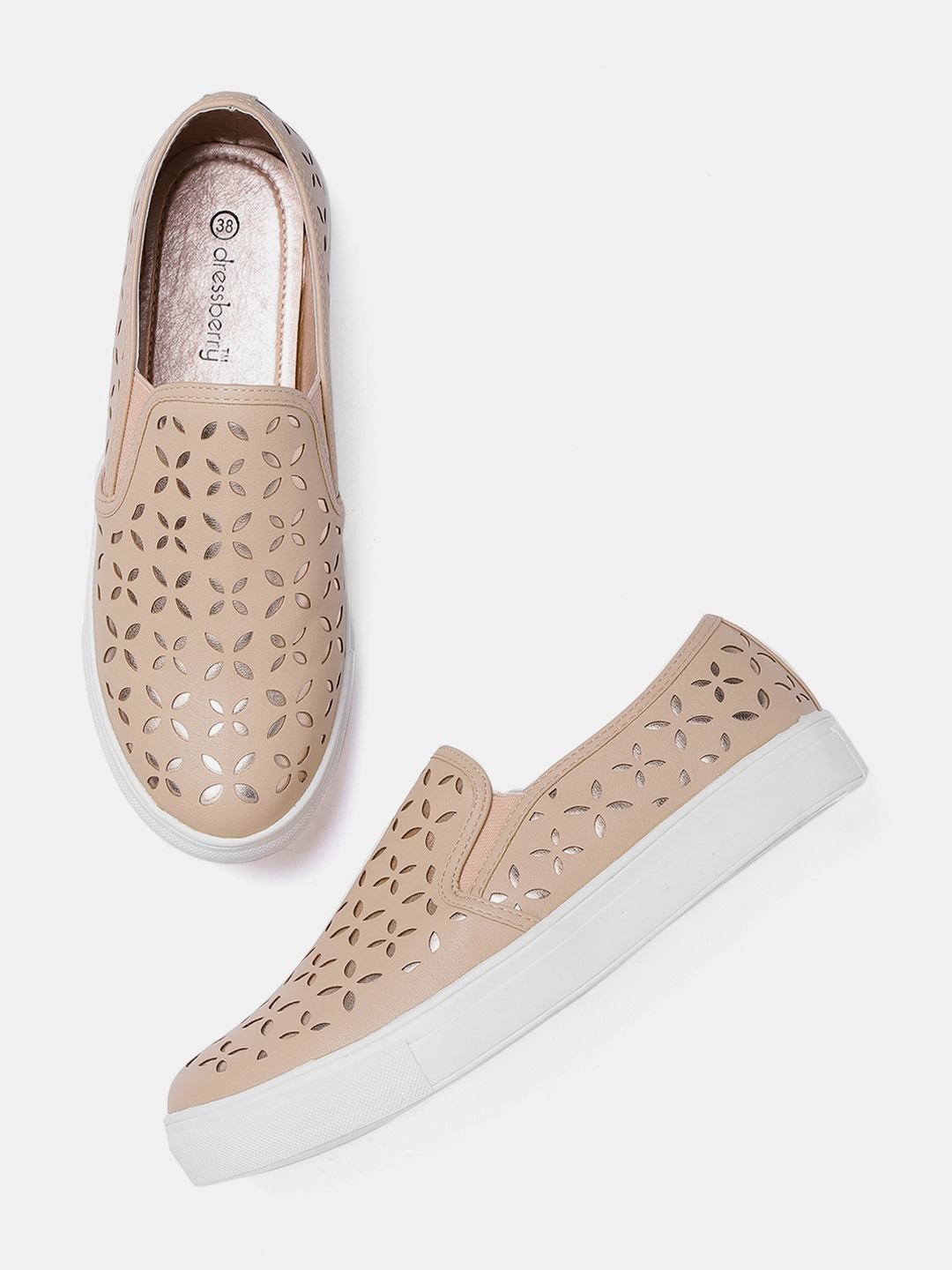Peach-Coloured & Rose Gold-Toned Cut-Work Slip-On Sneakers
