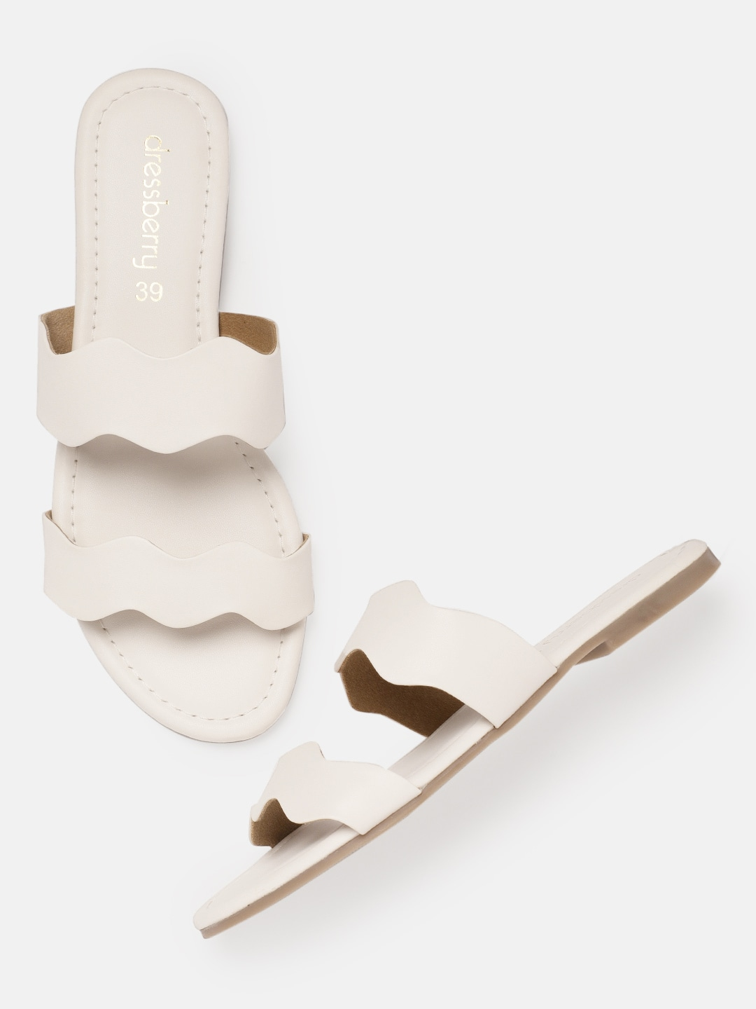 White Solid Open Toe Flats