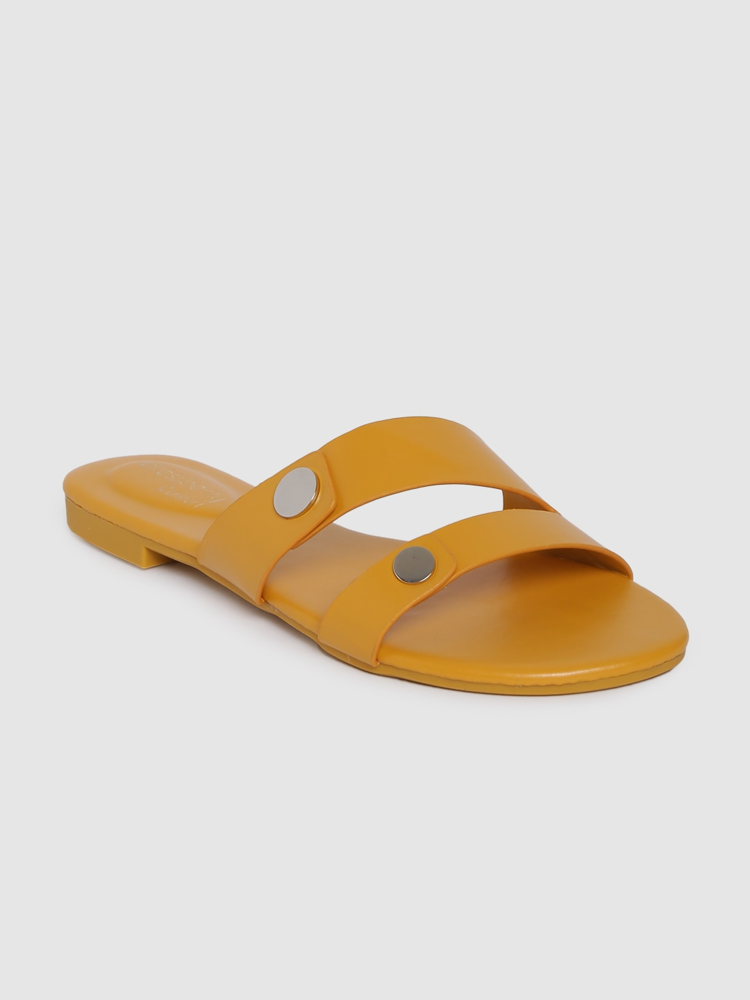 Yellow Solid Open Toe Flats