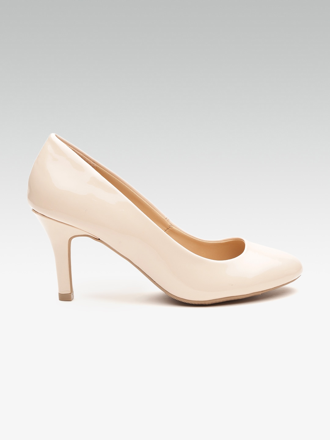 Beige Solid Pumps