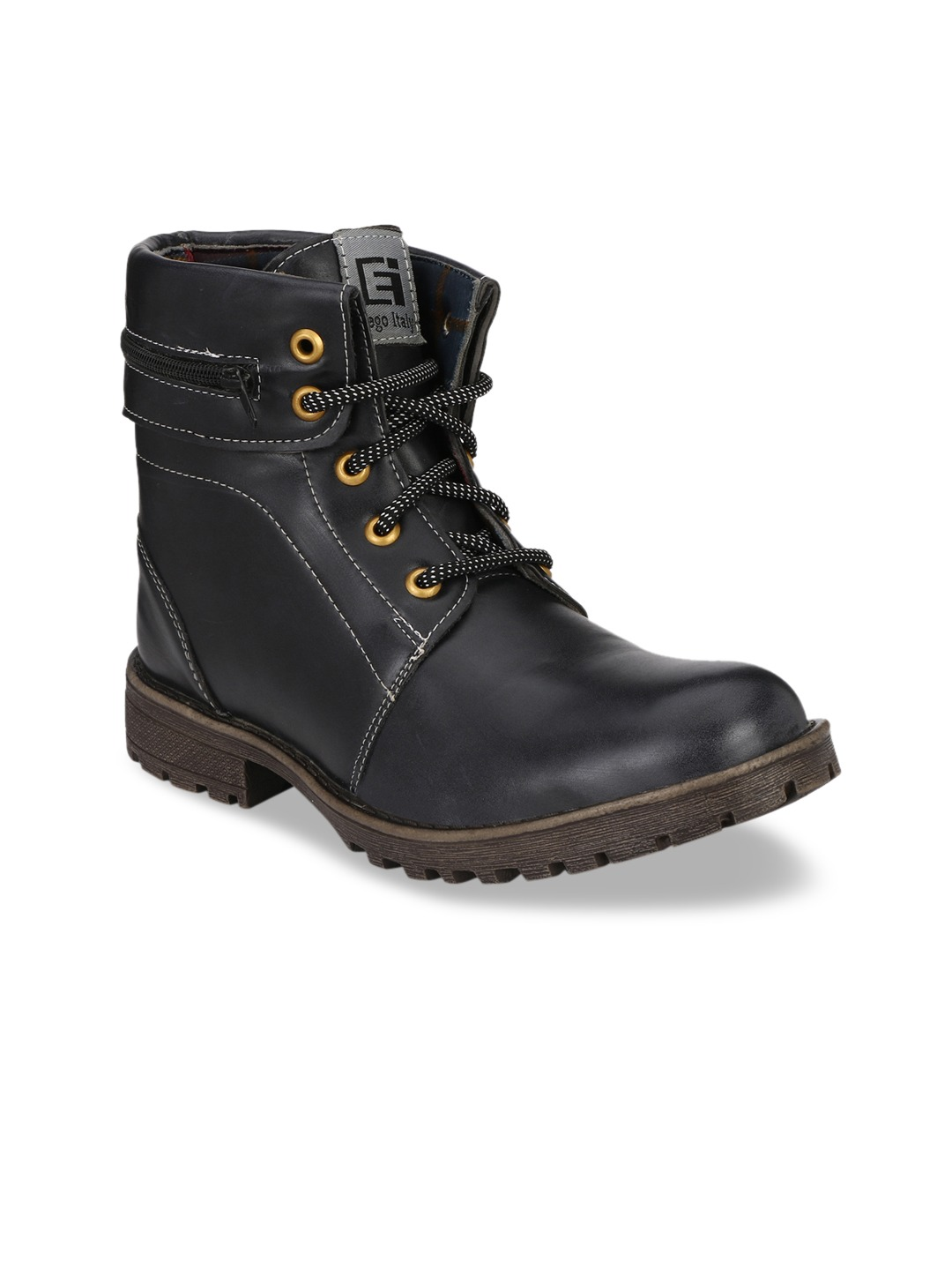 Black Solid Synthetic High-Top Flat Boots