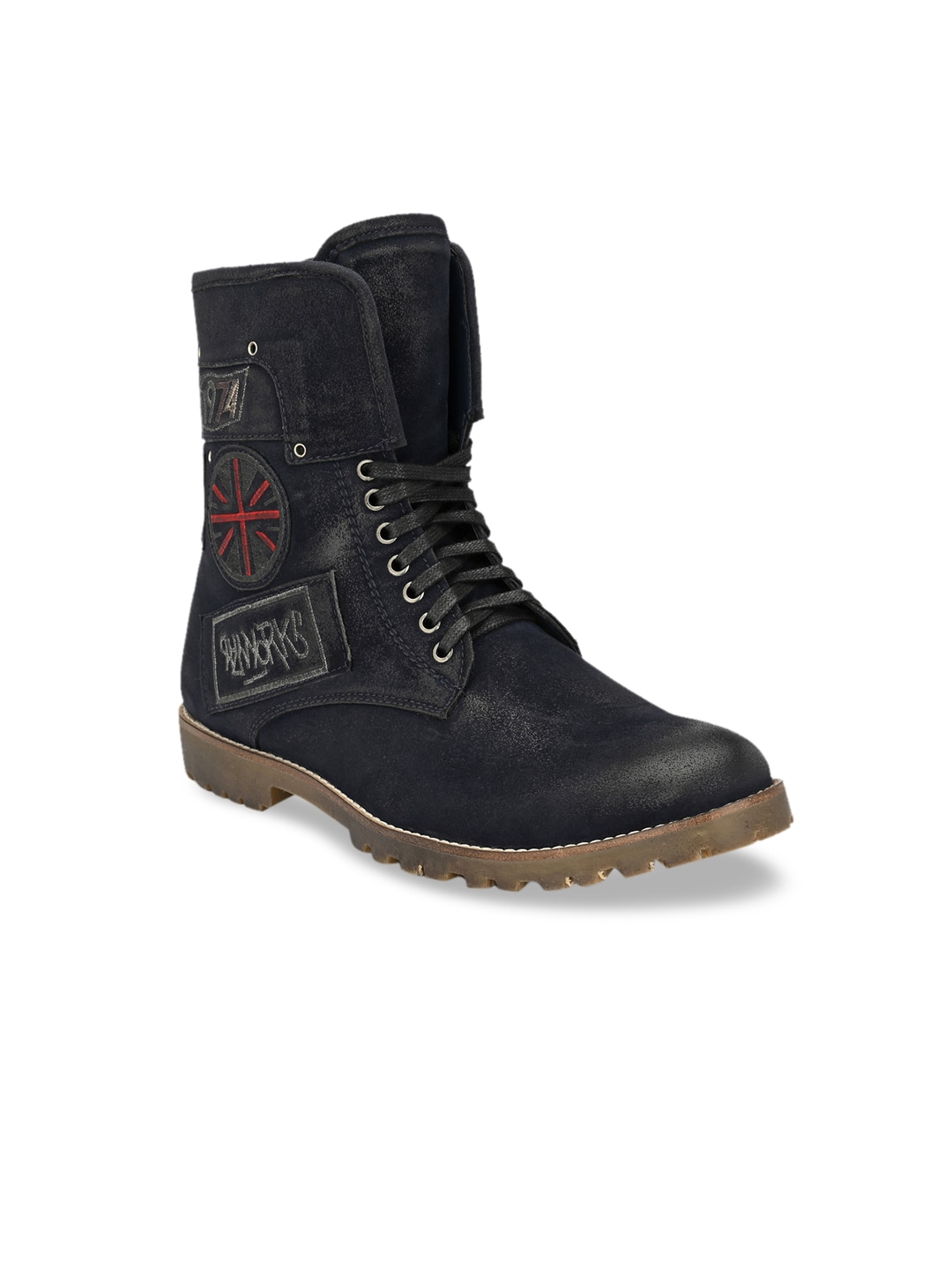 Navy Blue Solid Synthetic Leather High-Top Flat Boots