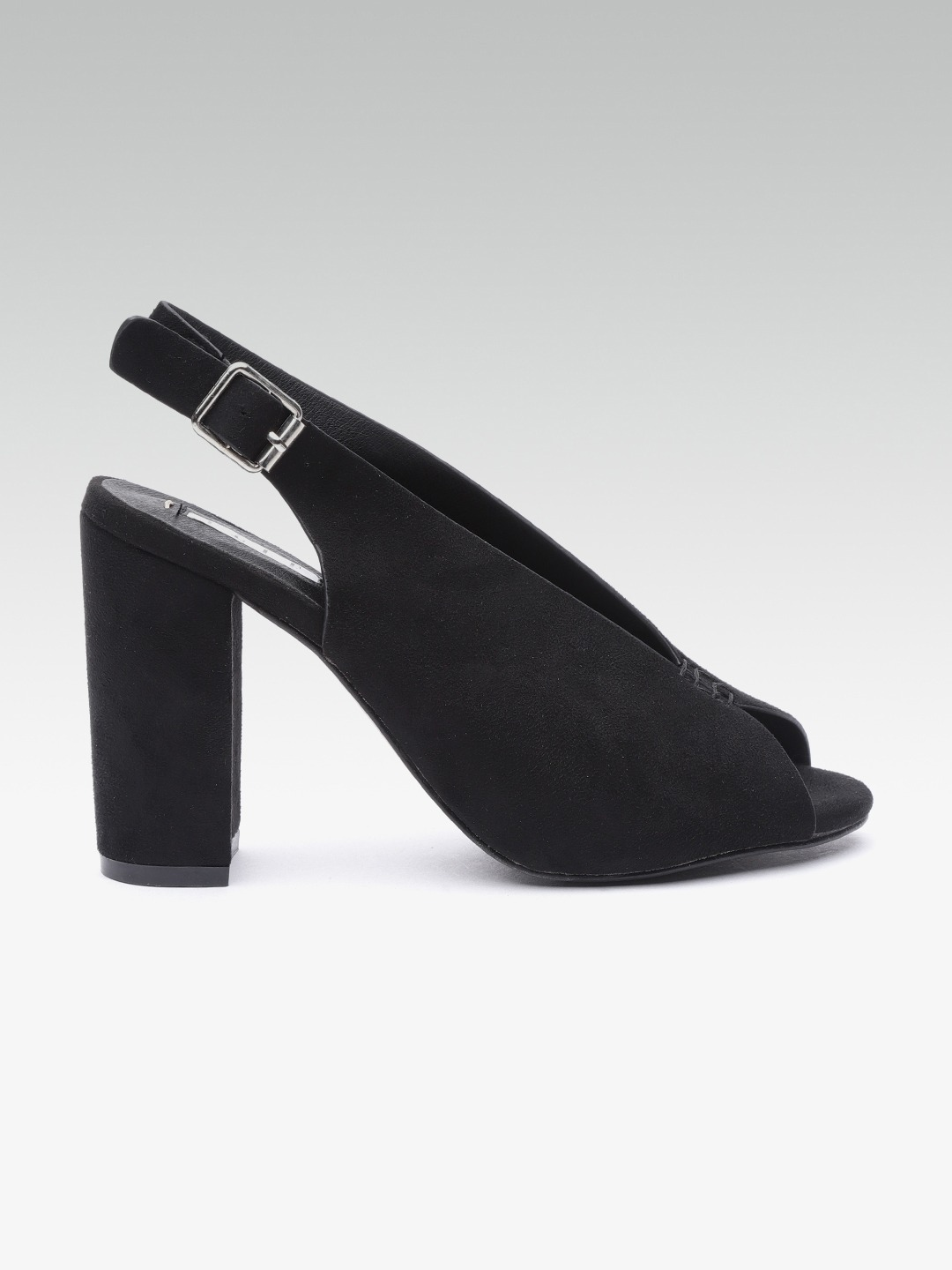 Black Solid Heeled Peep Toes