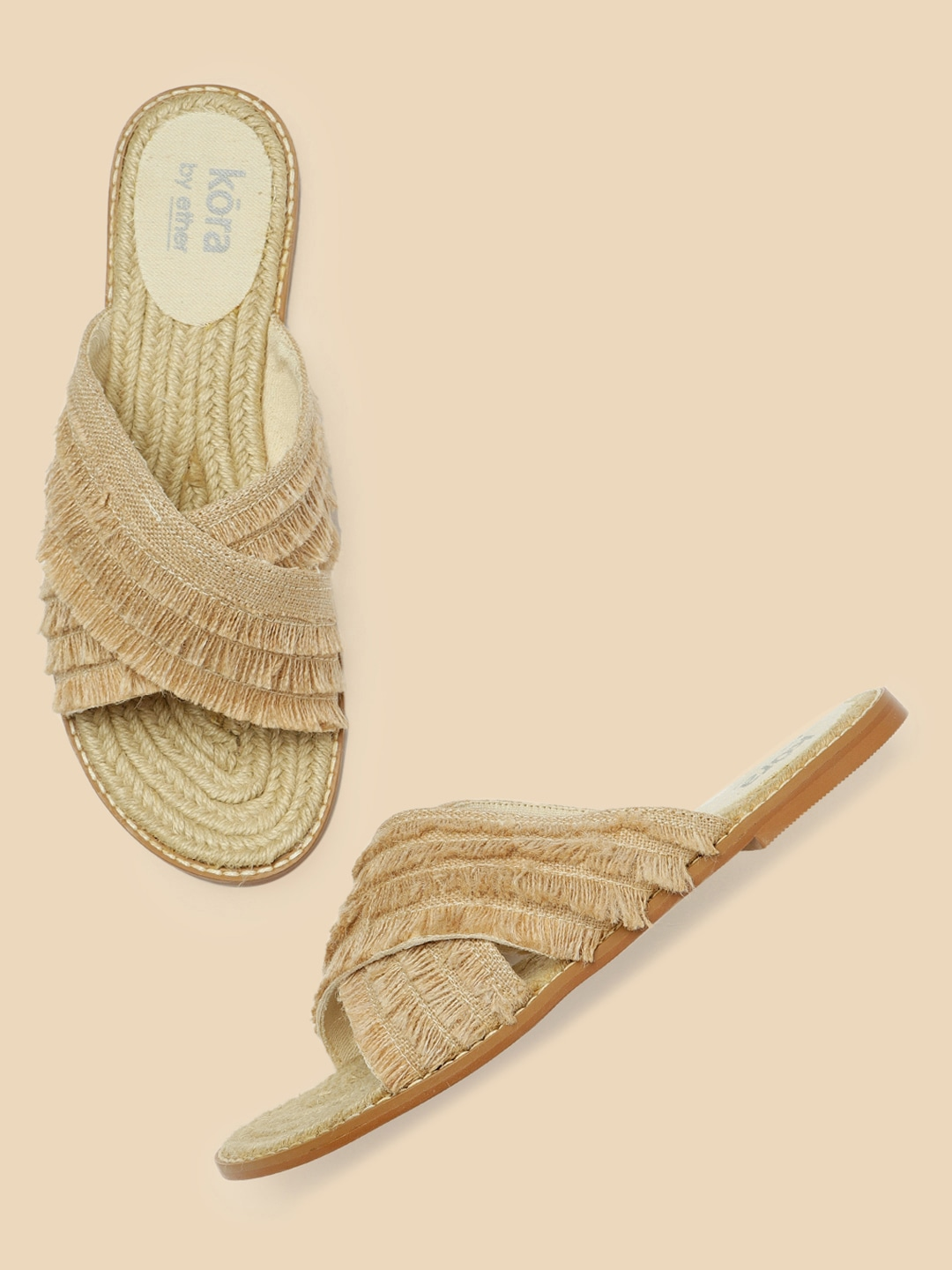 Kora Collection Women Beige Jute Sustainable Open Toe Flats