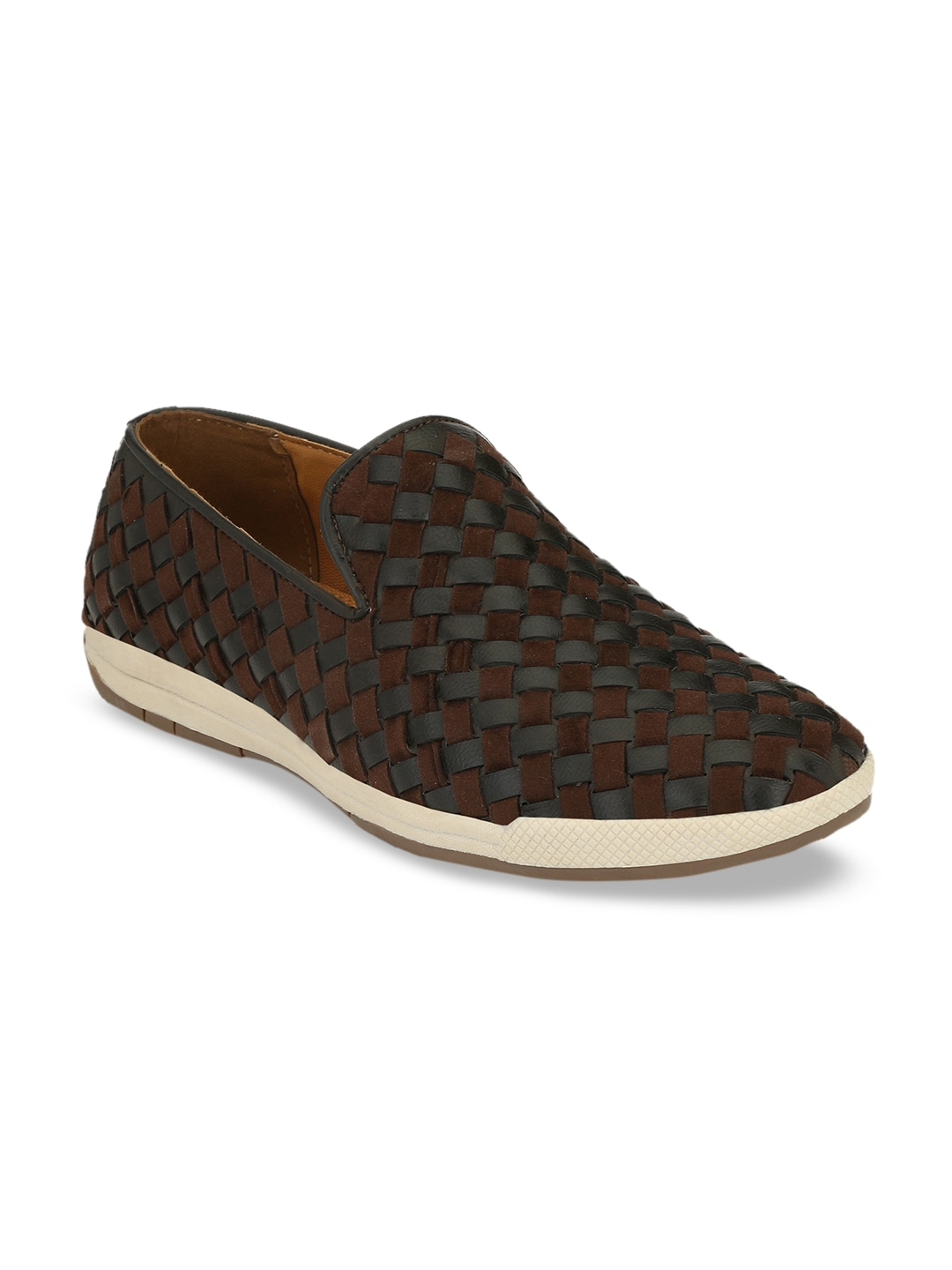 Brown & Grey Woven Design Leather Slip-On Sneakers