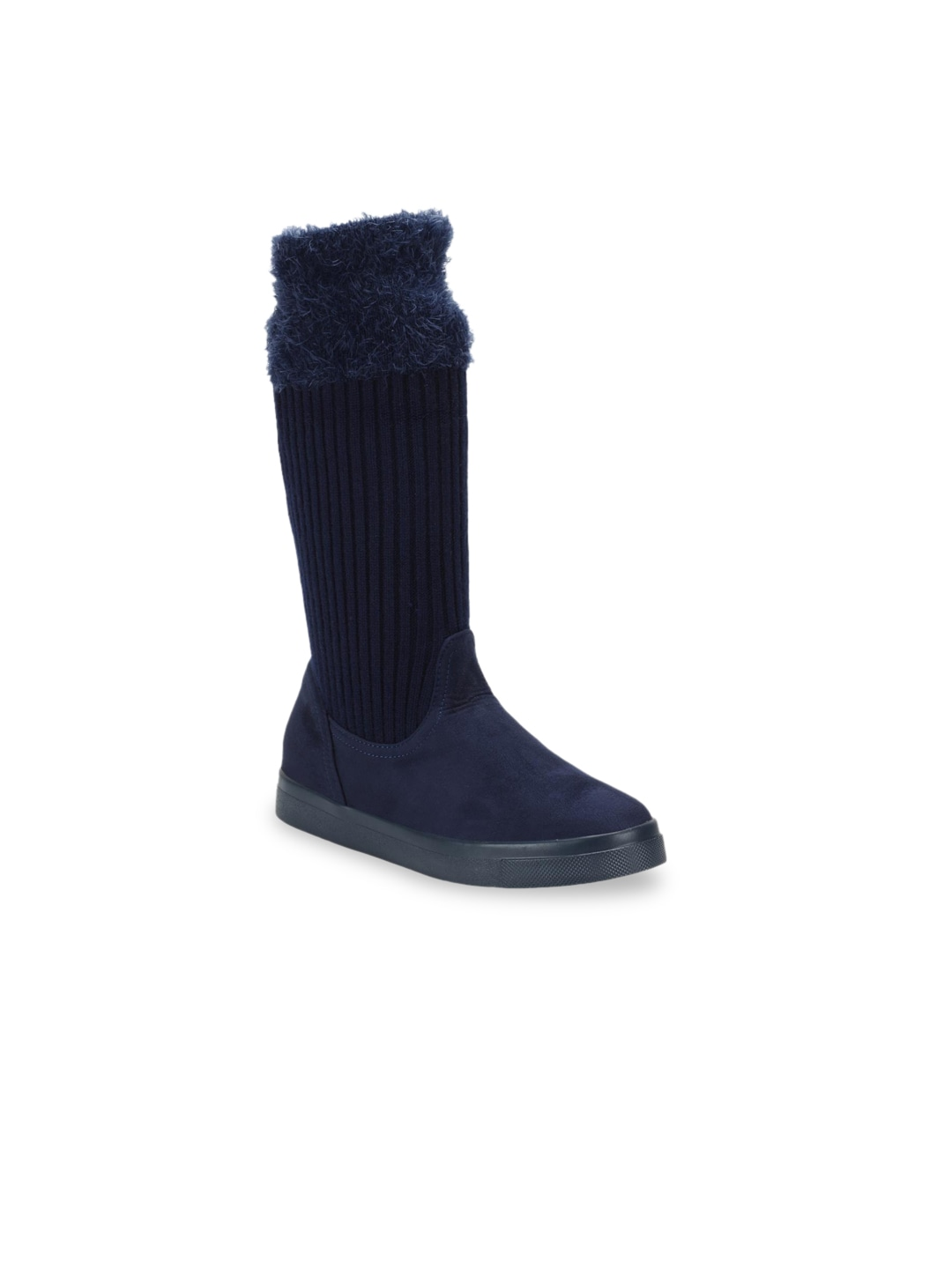Navy Blue Woven Design Suede High-Top Flat Boots