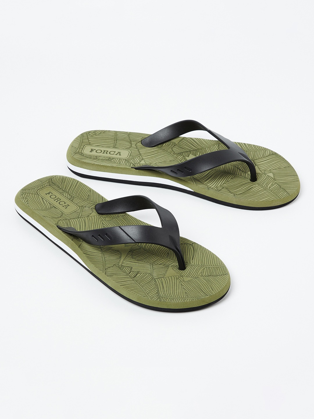 Olive Green & Black Printed Thong Flip-Flops