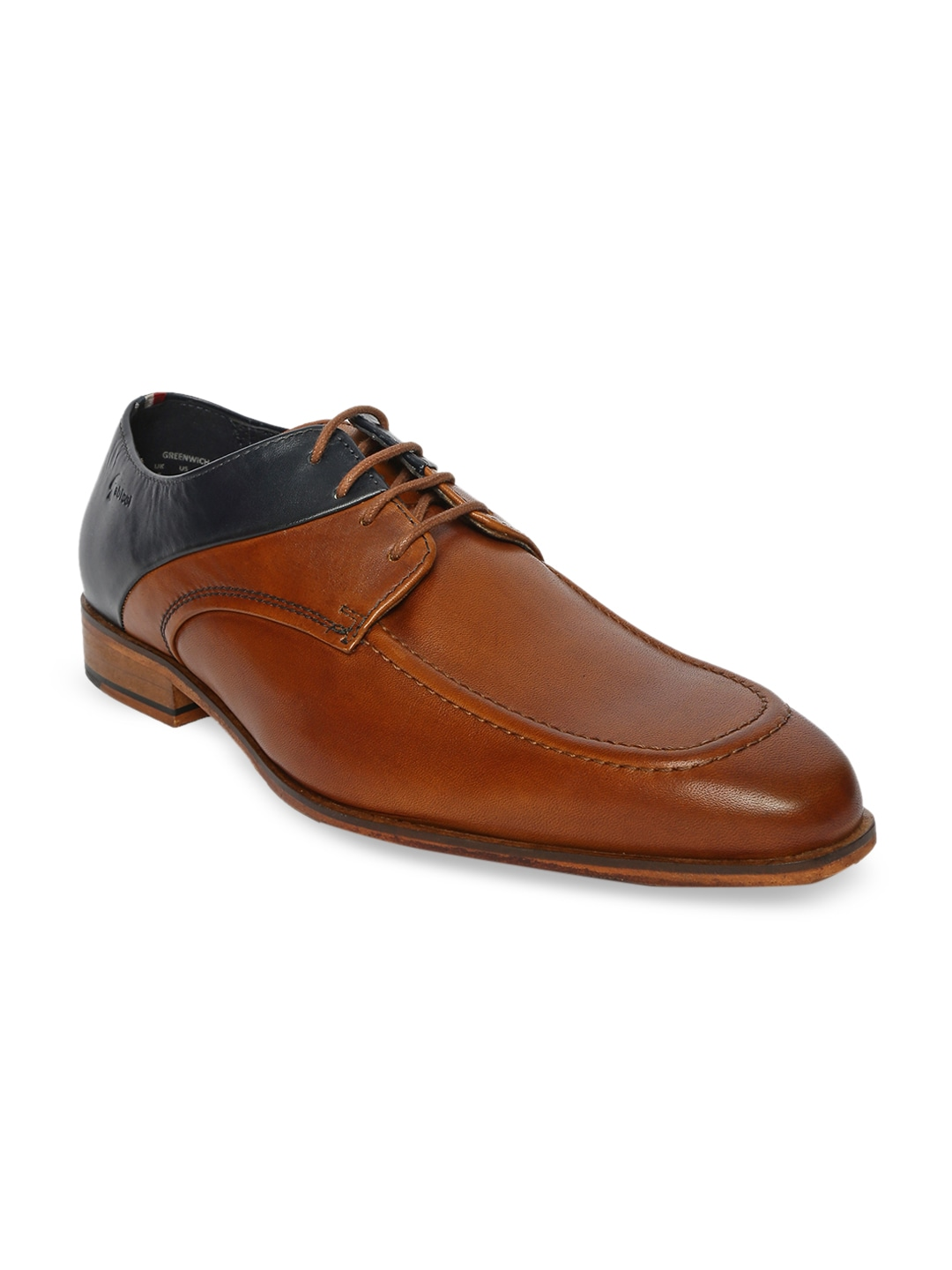 Tan Brown & Black Colourblocked Leather Formal Derbys