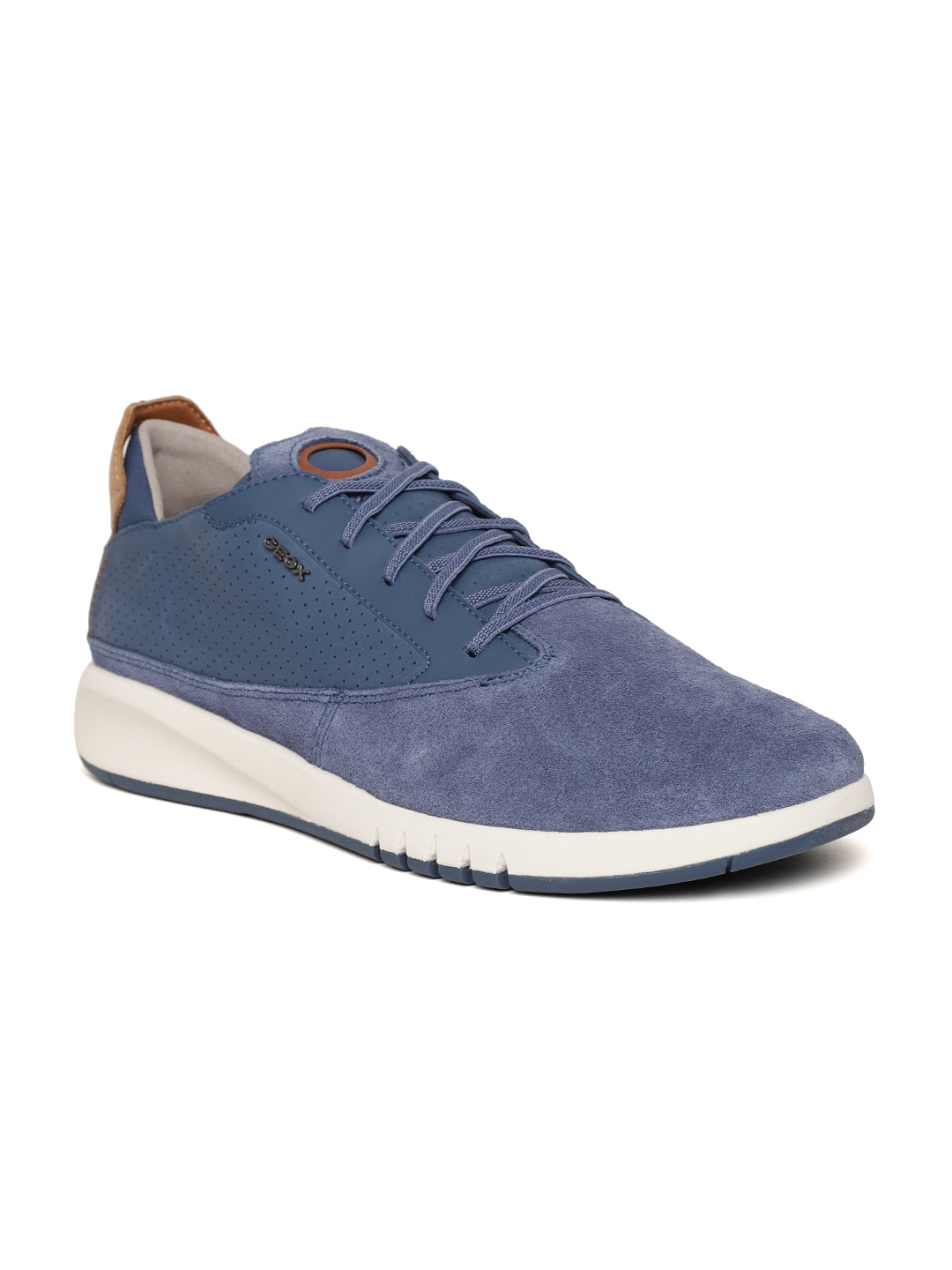 Blue Leather Perforated Sneakers