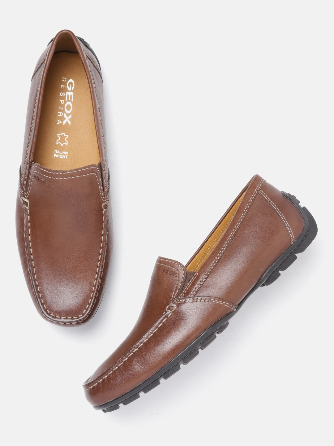 Brown Solid Leather Driving Shoes