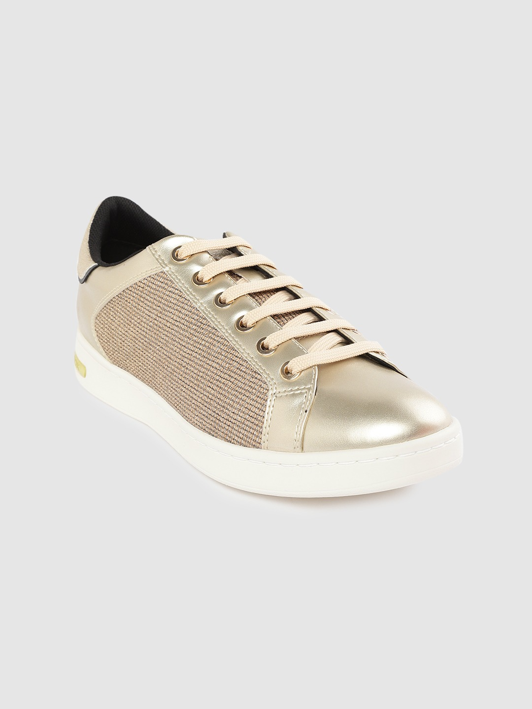 Gold-Toned & Beige Woven Design Sneakers