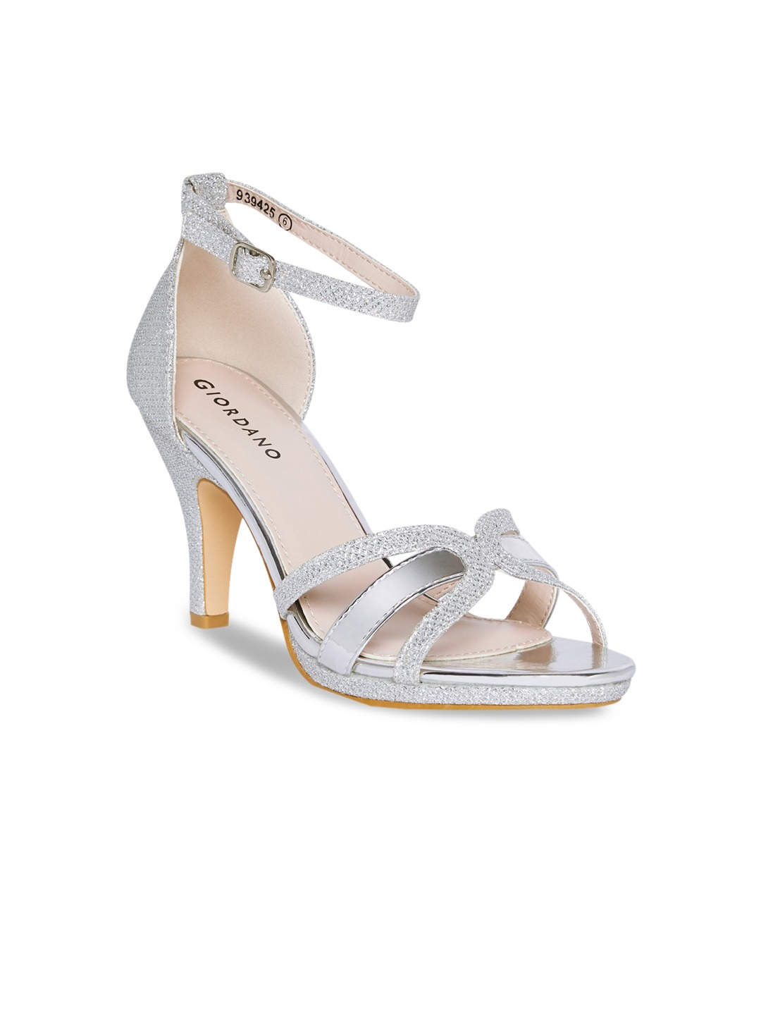 Silver-Toned Solid Heels