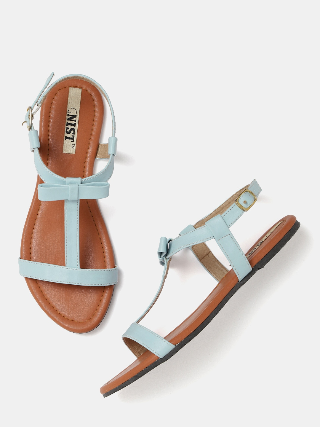 Blue Solid Open-Toed Flats