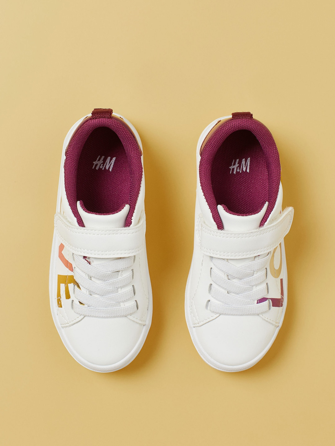 White & Burgundy Colourblocked Trainers