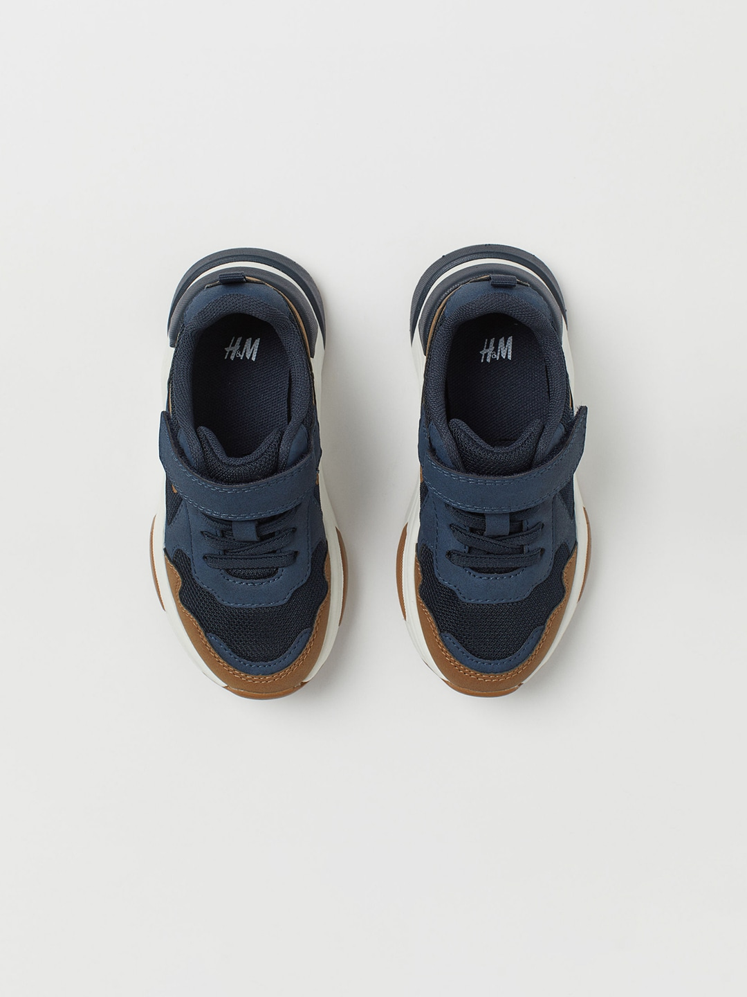 Navy Blue & Brown Colourblocked Trainers