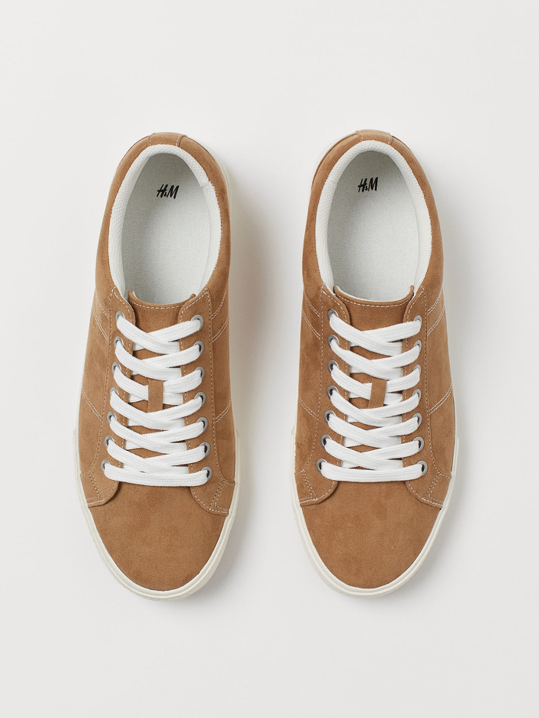 Beige Imitation Suede Trainers