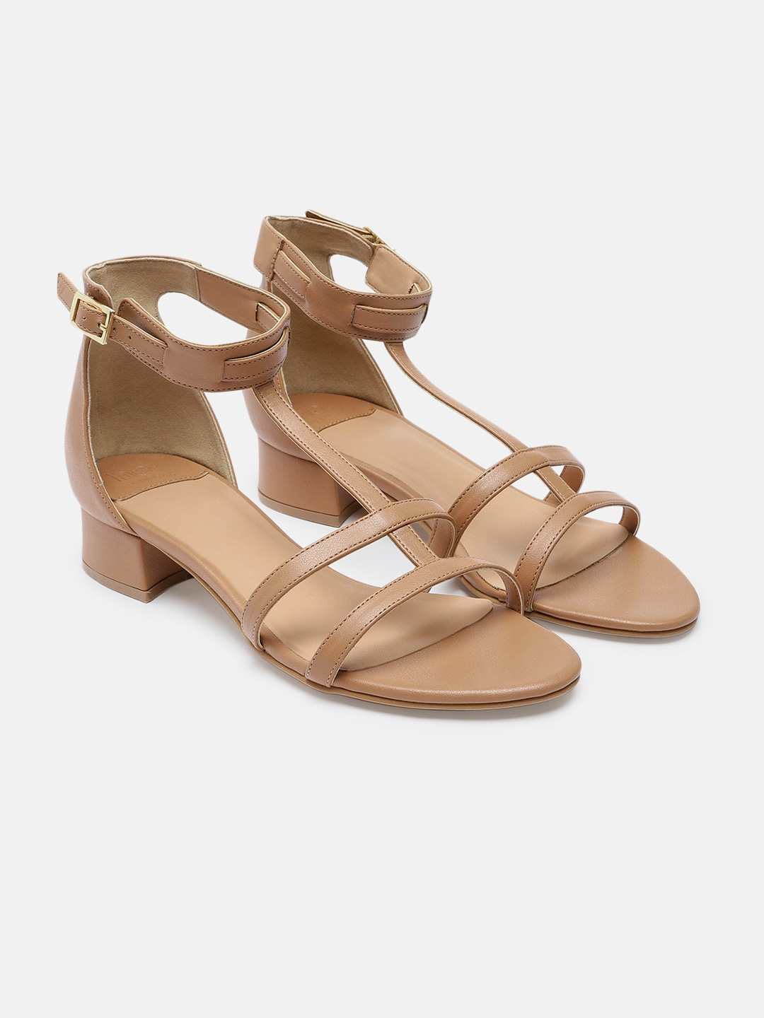 Beige Solid Cushioned Open Toe Sandals