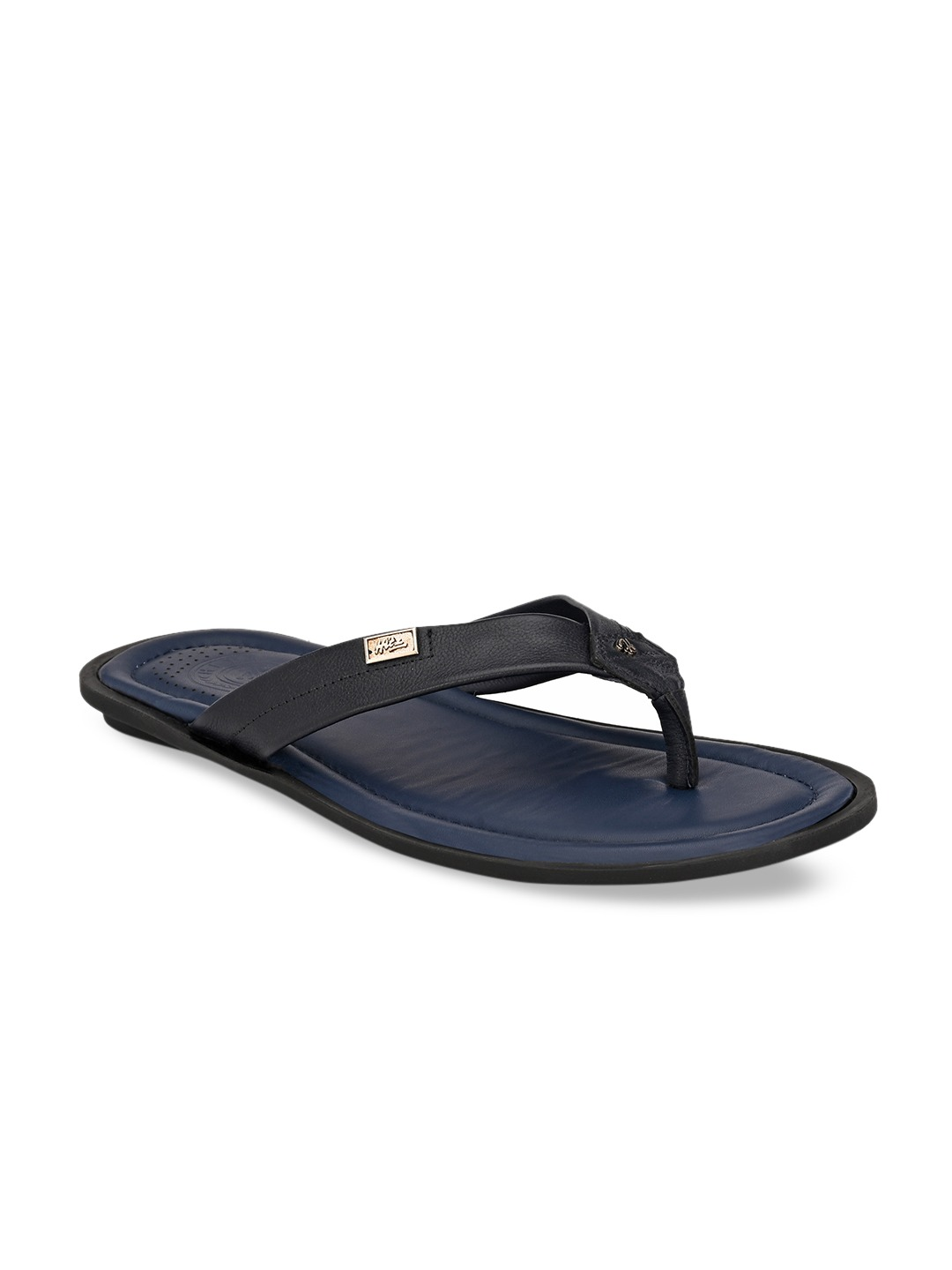 Navy Blue Solid Leather Comfort Sandals