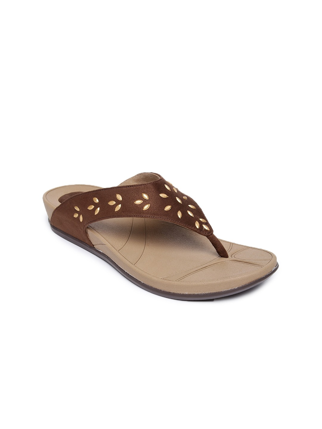 Brown Synthetic Open Toe Flats