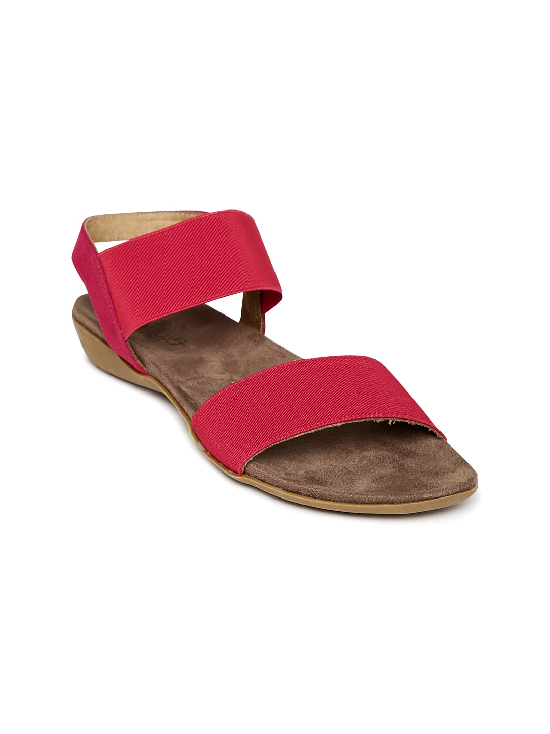 Red Solid Synthetic Open-Toed Flats