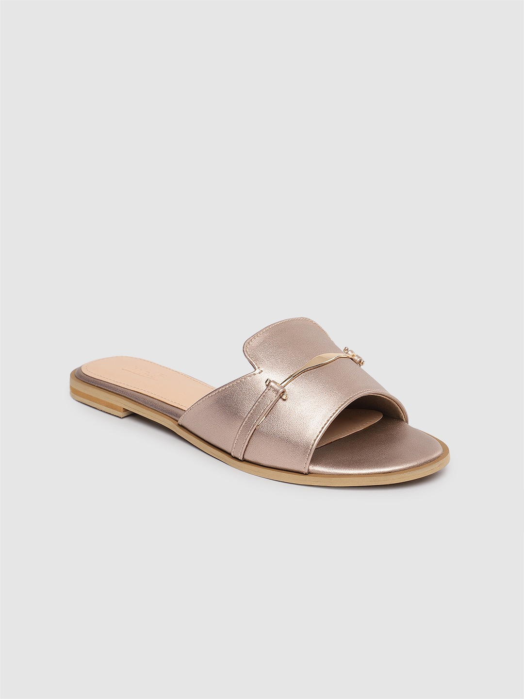 Rose Gold Solid Open Toe Flats