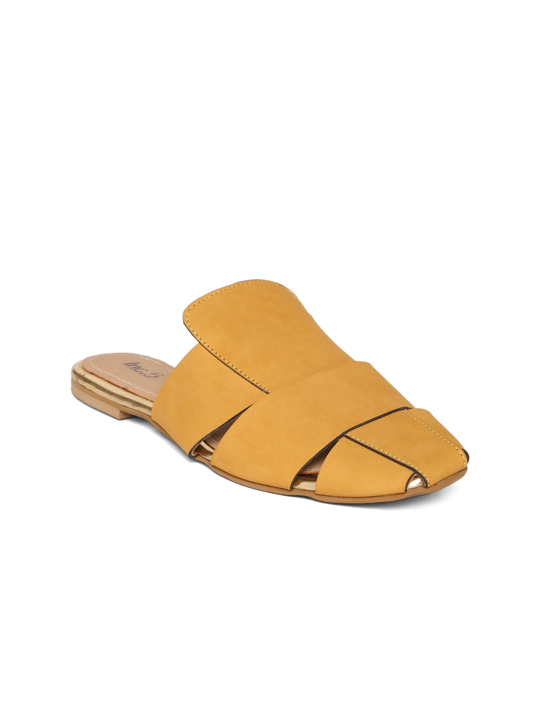 Yellow Solid Mules