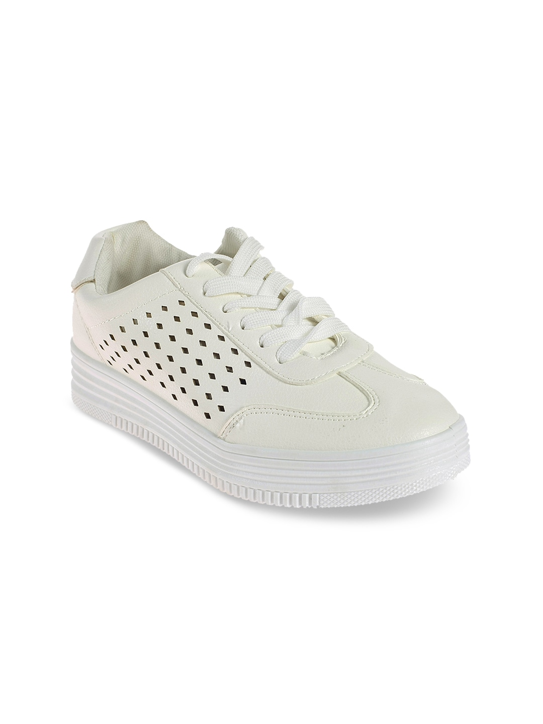 Off-White Solid Laser Cut Sneakers
