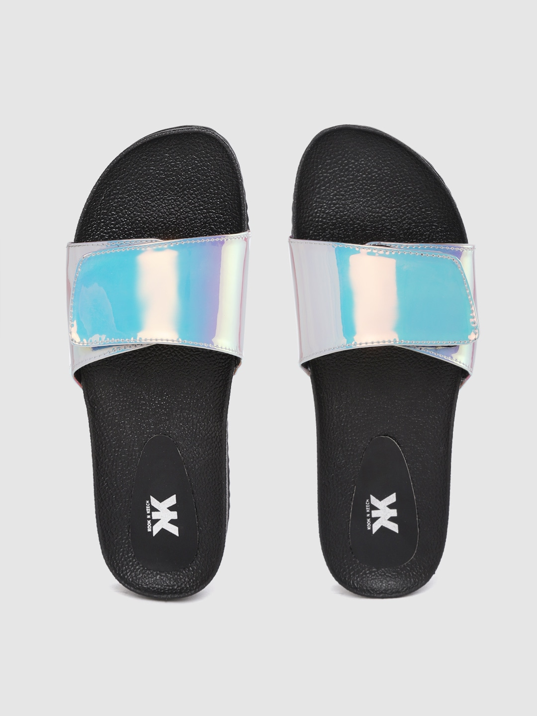 Silver-Toned & Black Iridescent Effect Sliders