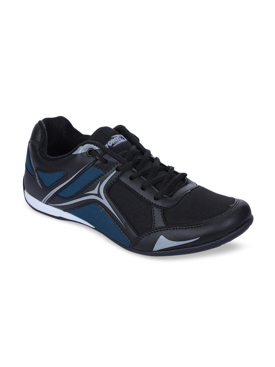 Black PU and Canvas Running Shoes