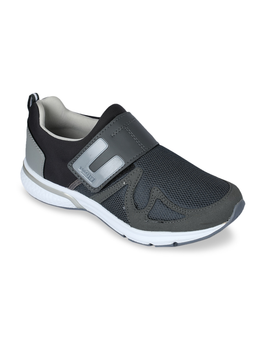 Grey PU and Canvas Walking Shoes