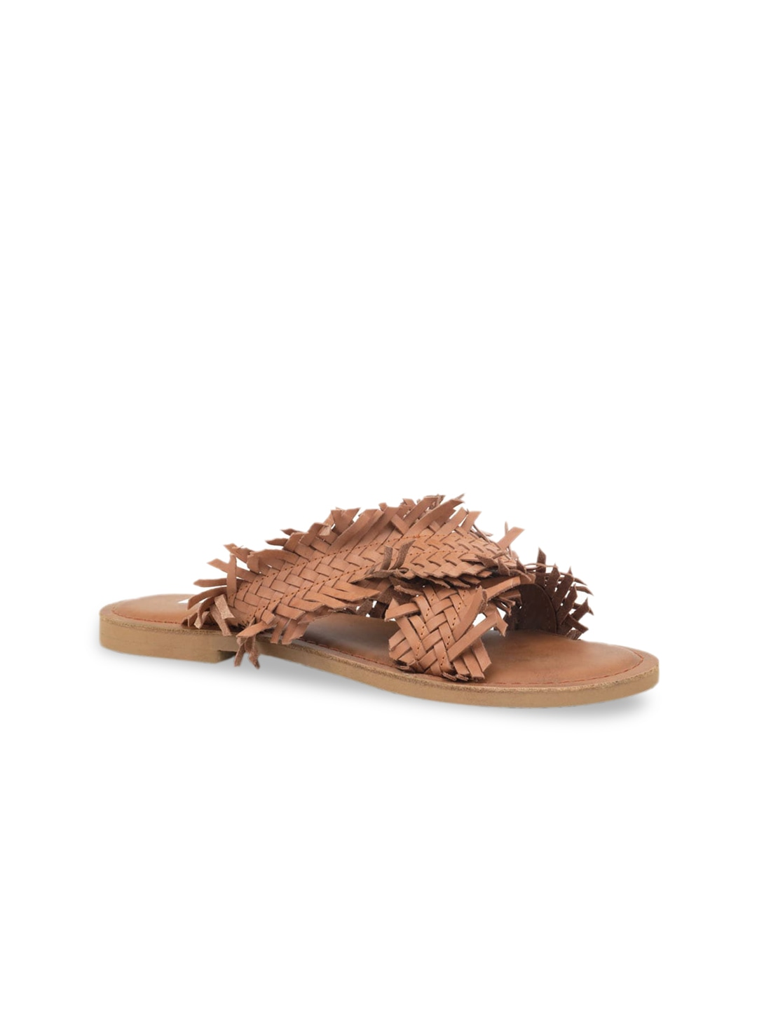 Tan Solid Leather Open Toe Flats