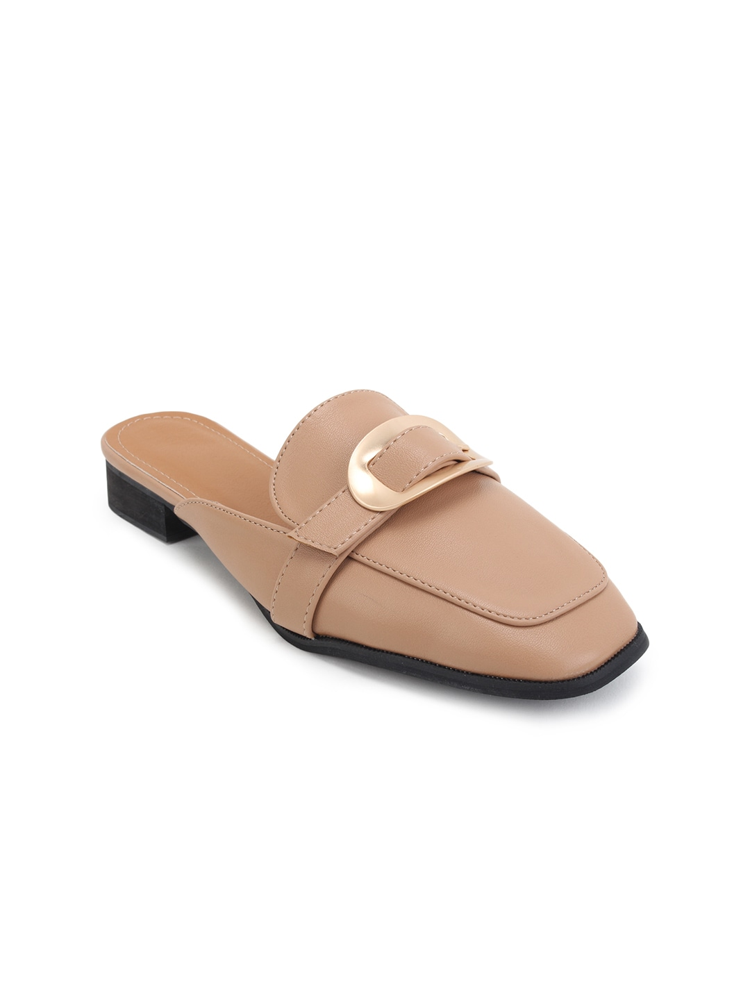 Beige Solid Synthetic Mules