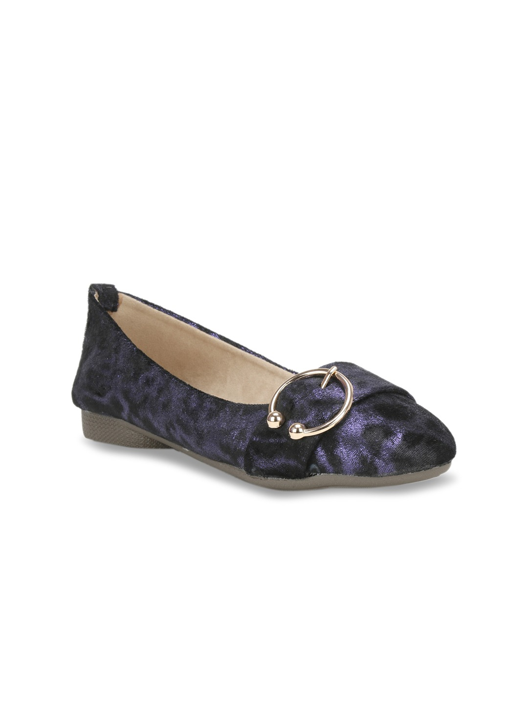 Blue Solid Synthetic Ballerinas