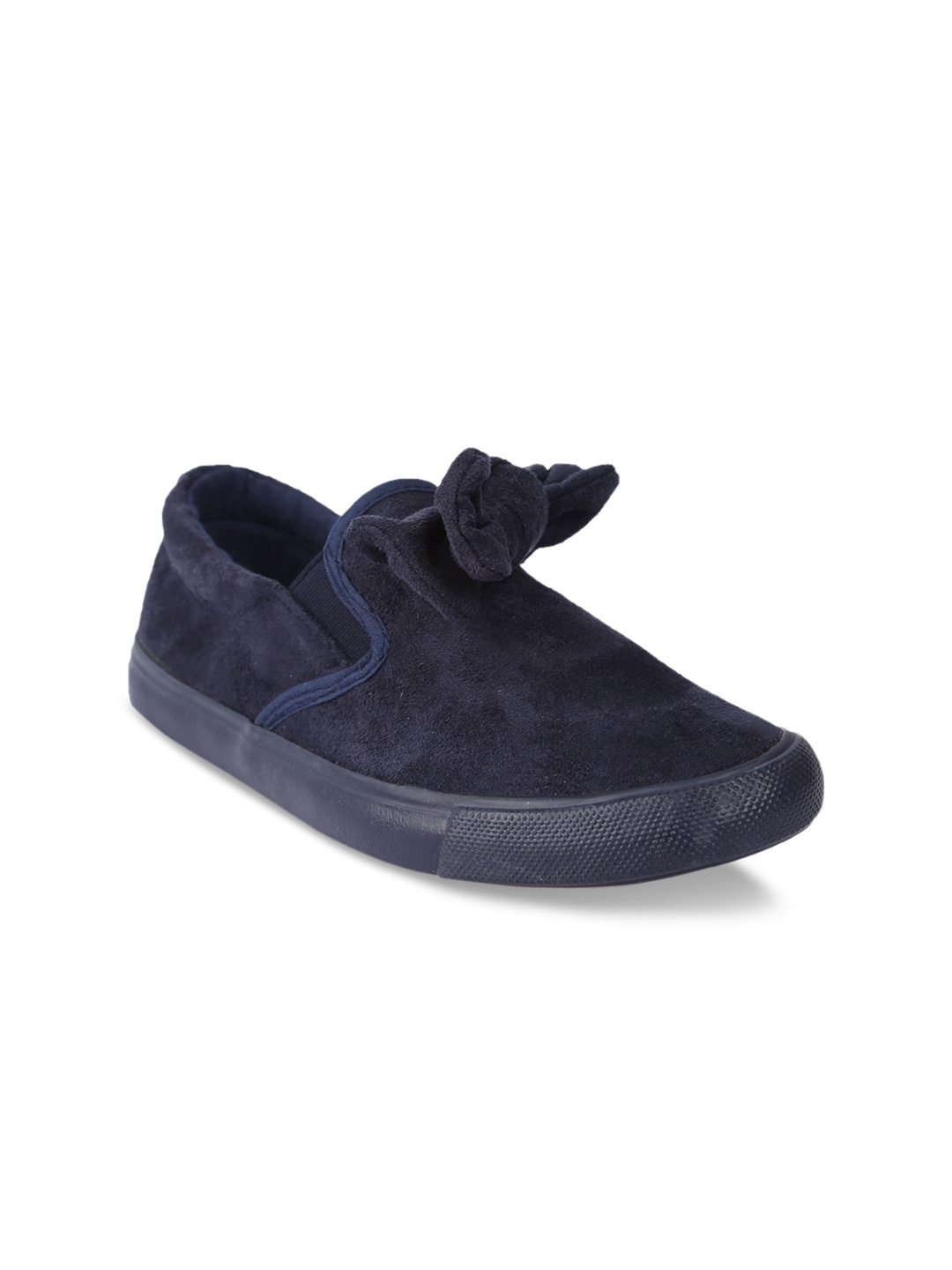 Navy Blue Suede Slip-On Sneakers