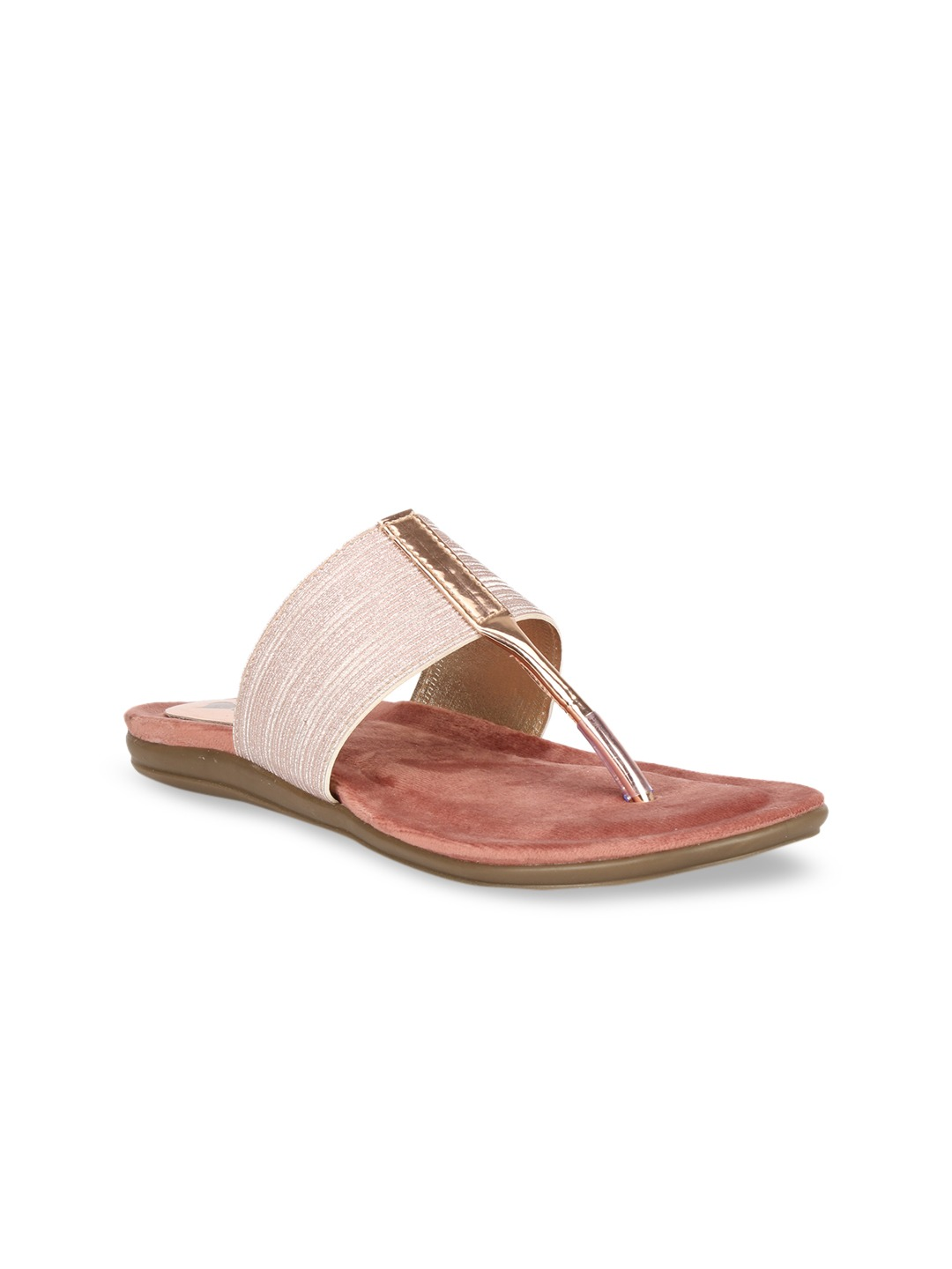 Pink Solid Suede Open Toe Flats