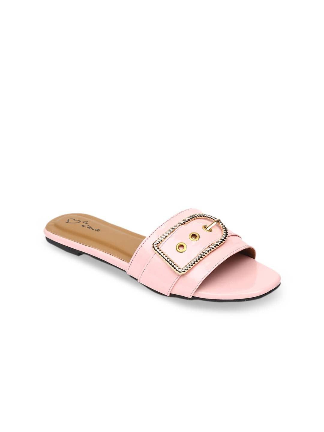 Pink Solid Synthetic Patent Open Toe Flats