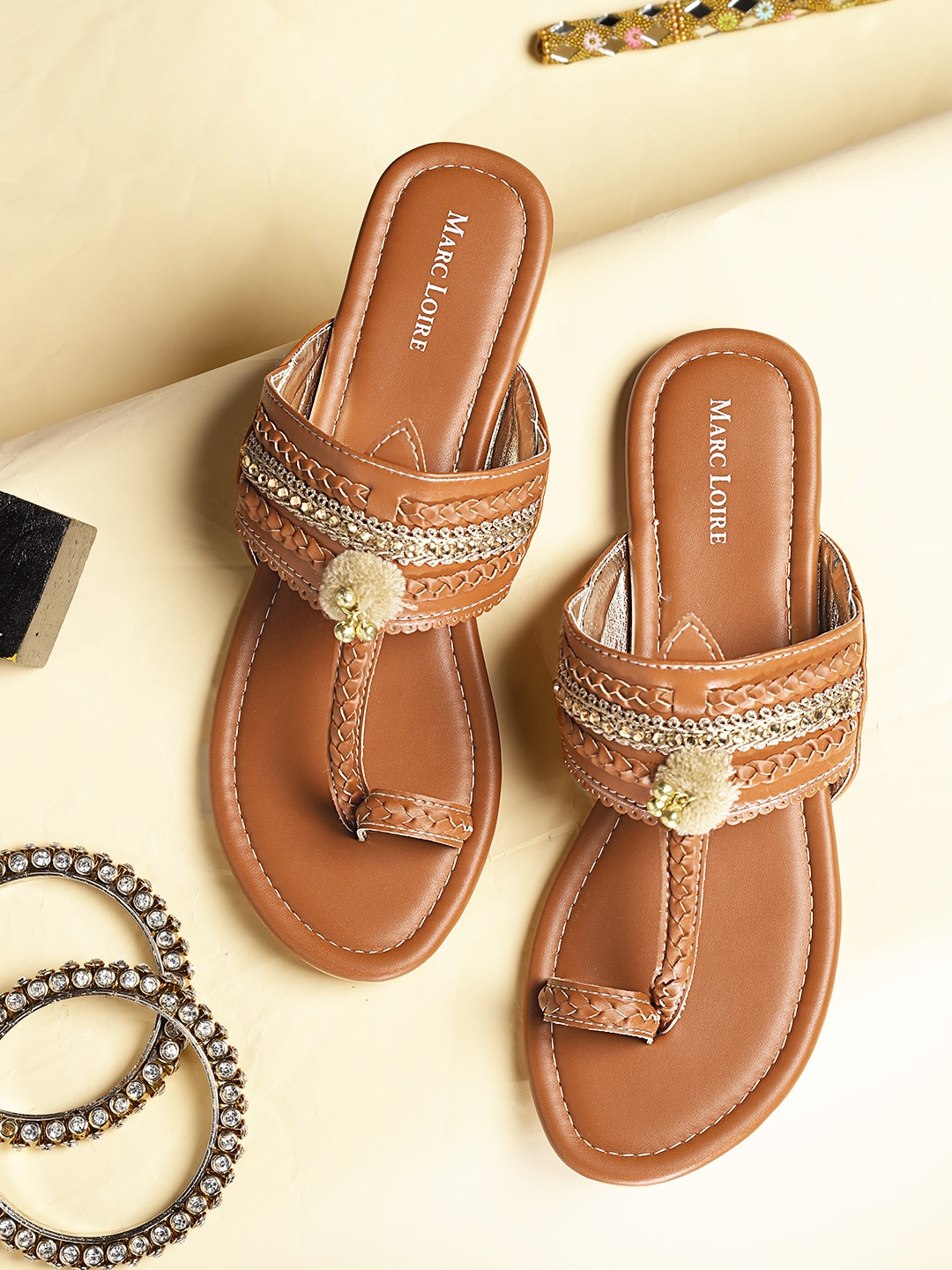 Tan Brown Braided Embellished One Toe Flats