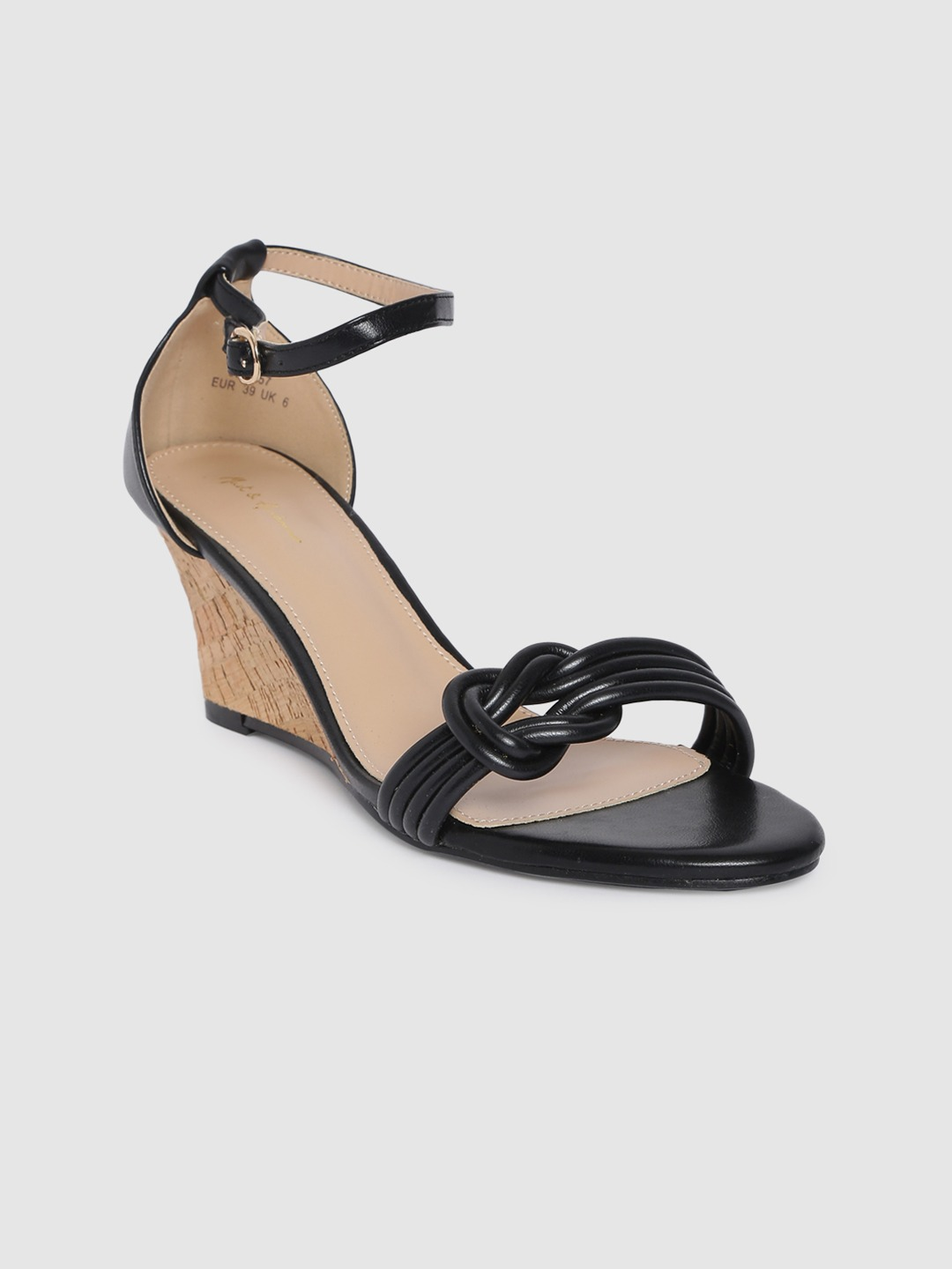Black Solid Open Toe Wedges