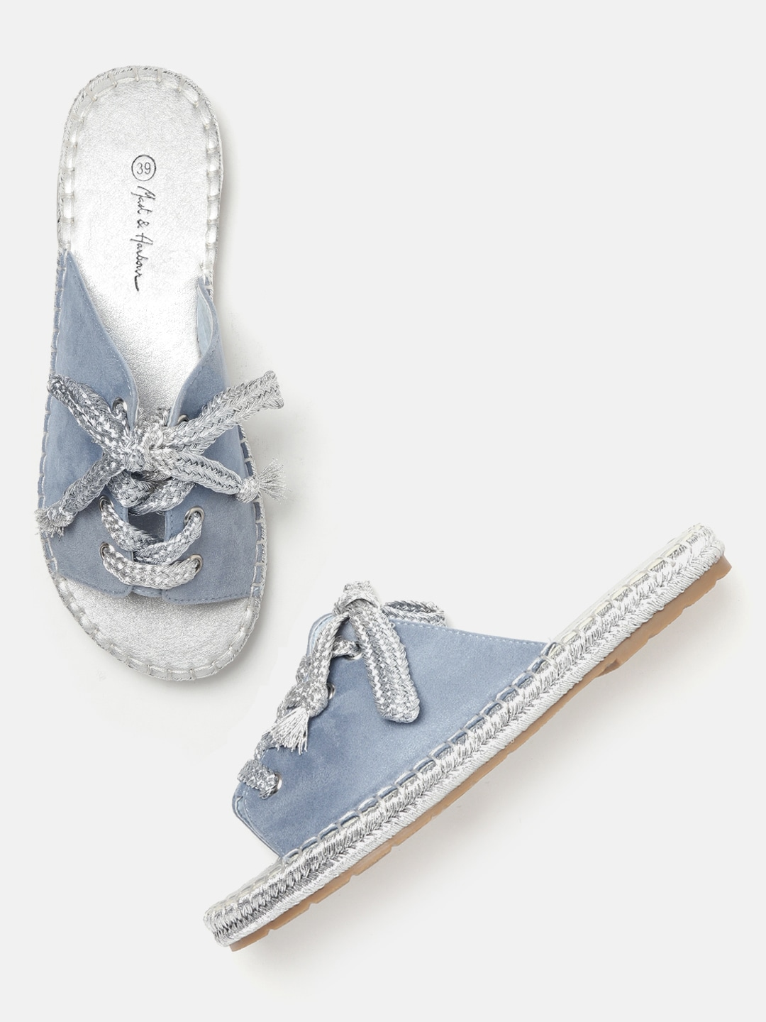 Blue Solid Open Toe Espadrille Flats