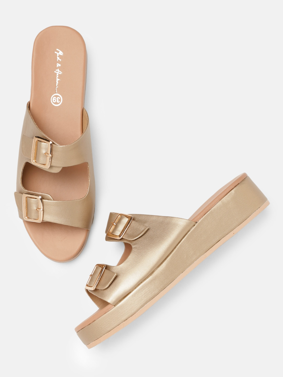 Gold-Toned Solid Sandals