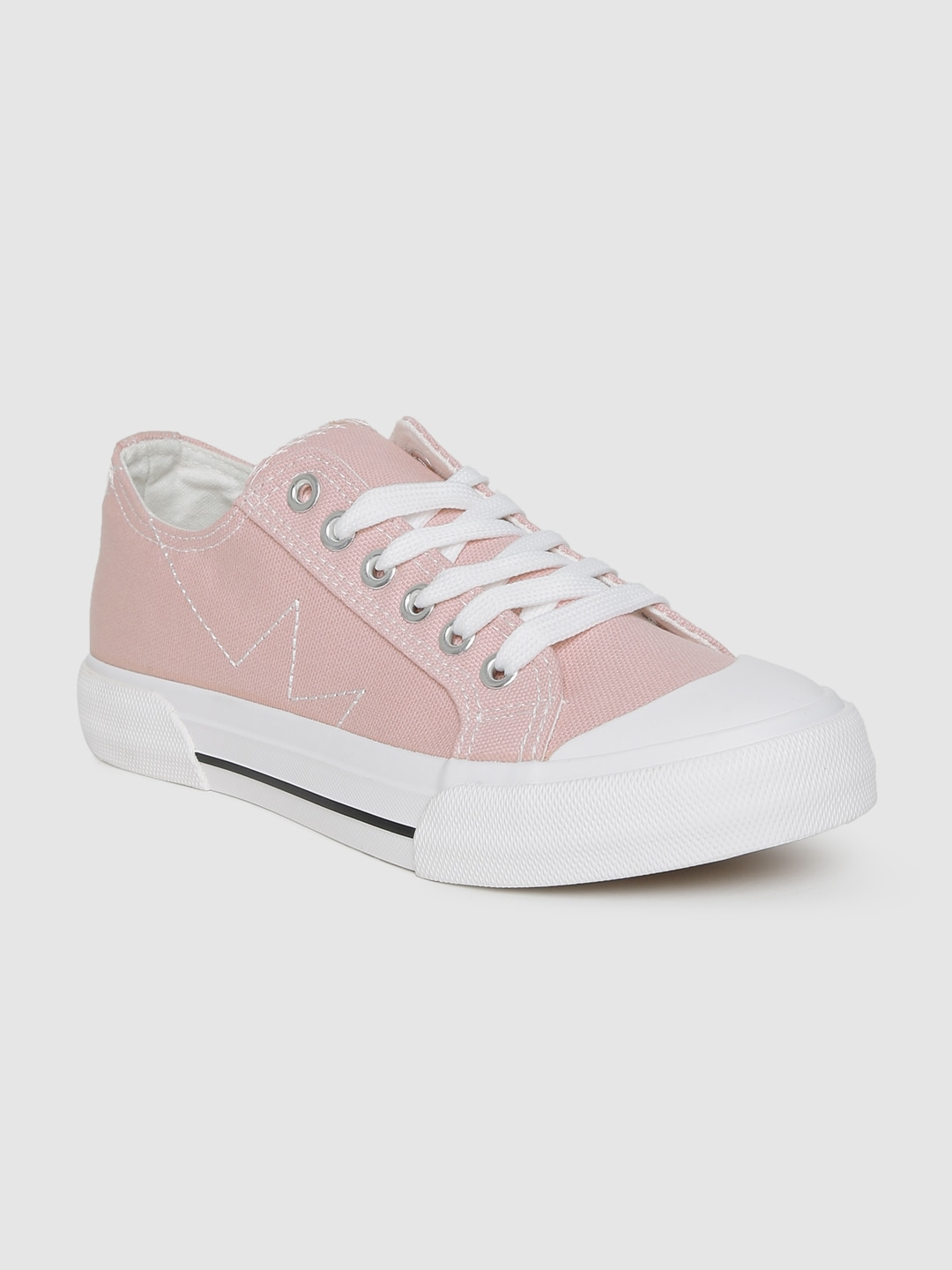Pink Solid Sneakers