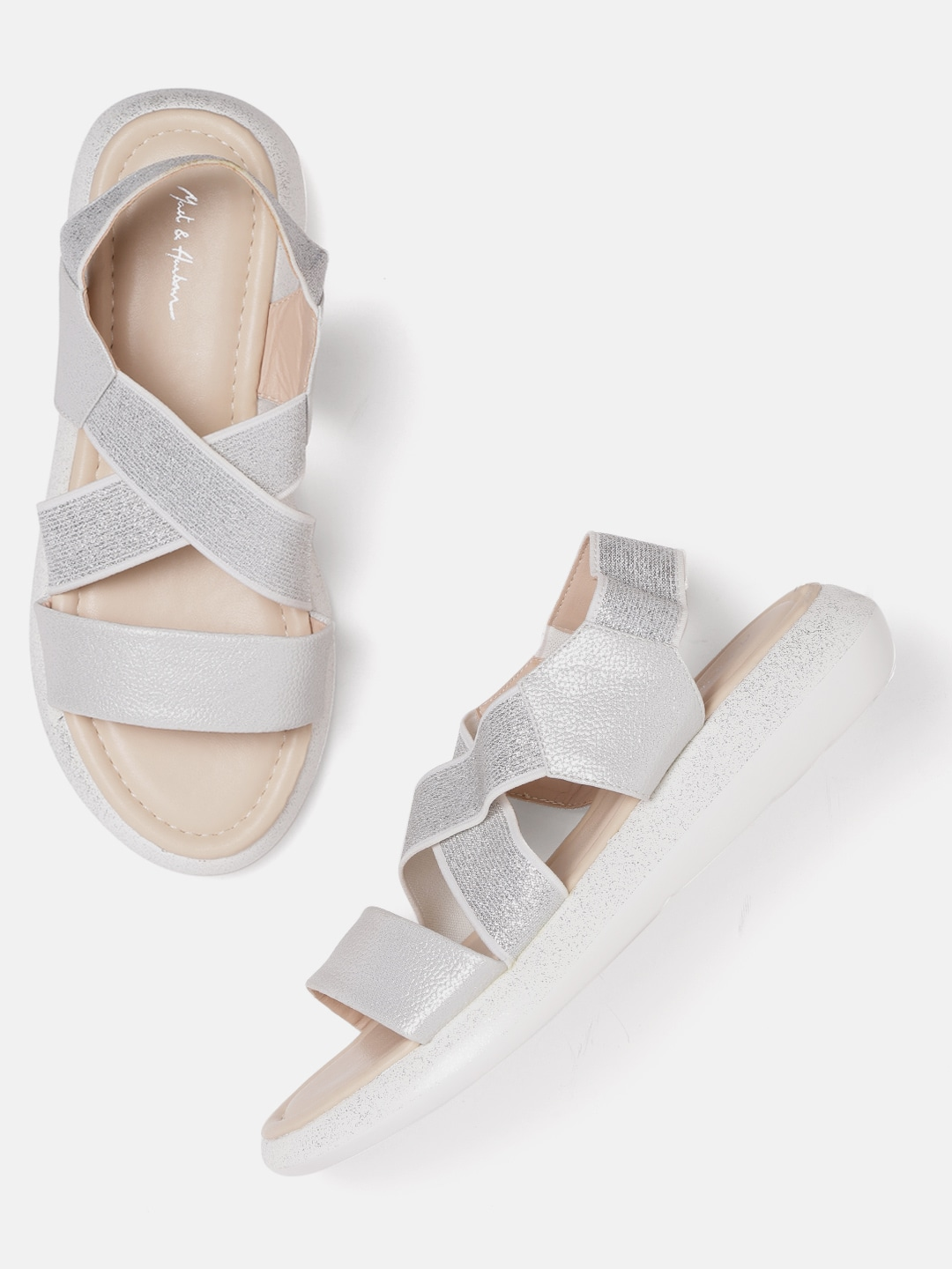 Silver-Toned Shimmer Open Toe Flats