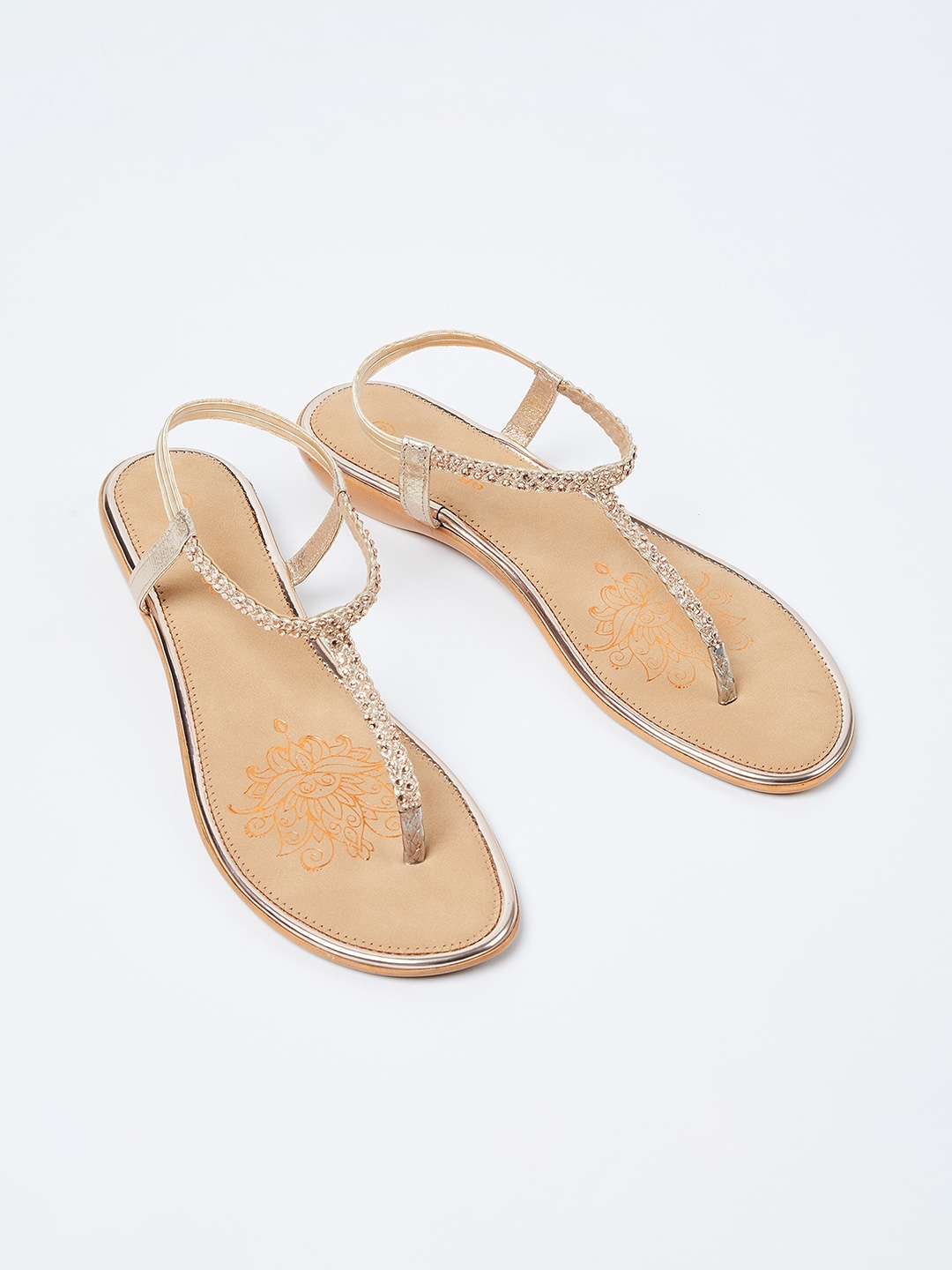 Champagne Solid T-Strap Flats