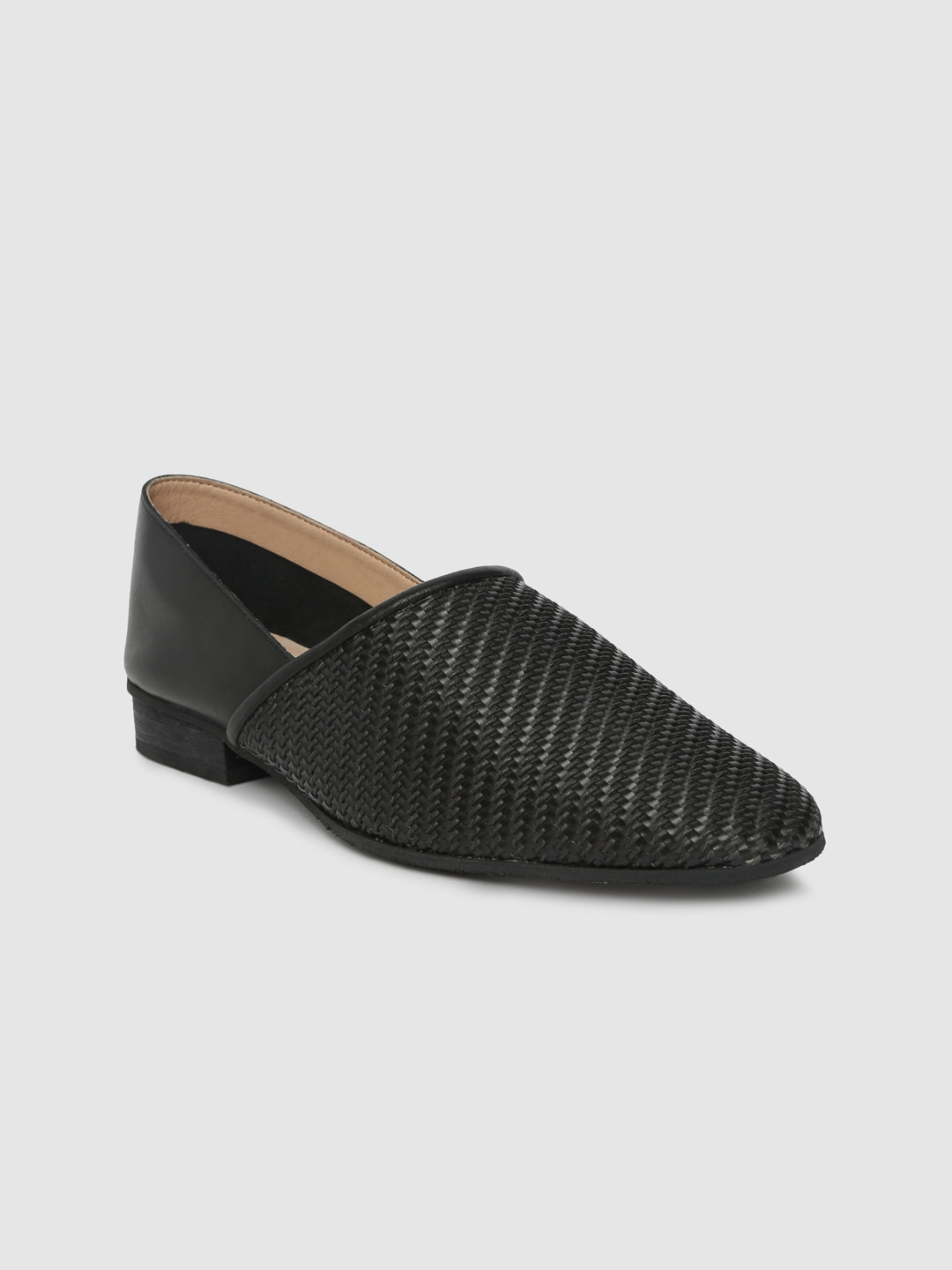 Black Textured Leather Slip-On Shoes