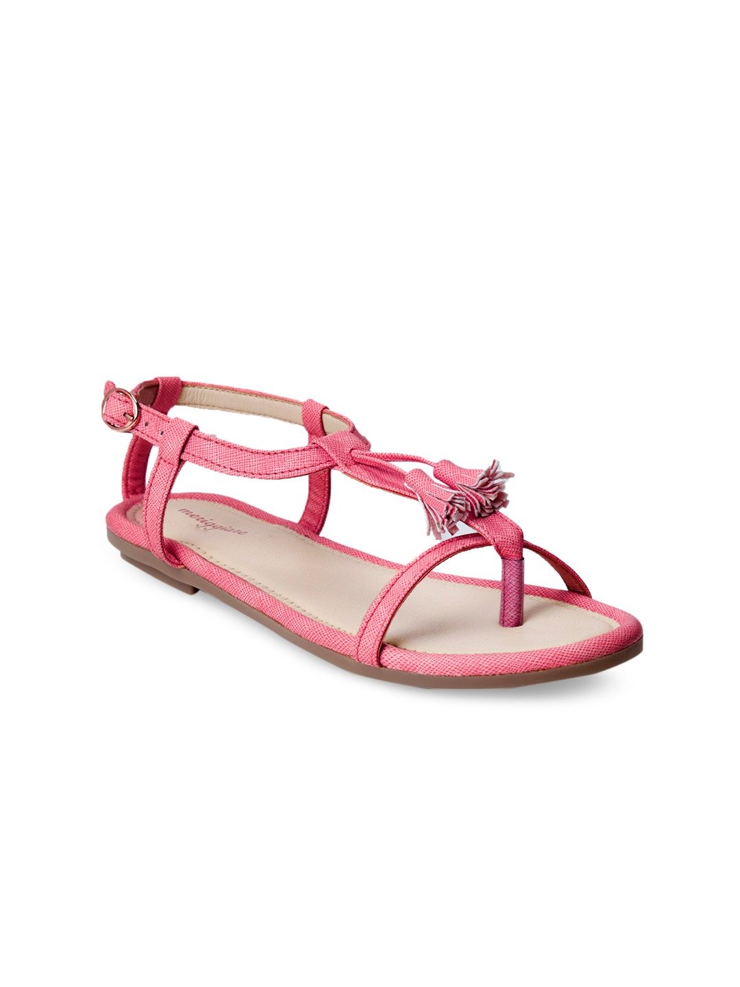 Pink Solid Synthetic Open Toe Flats