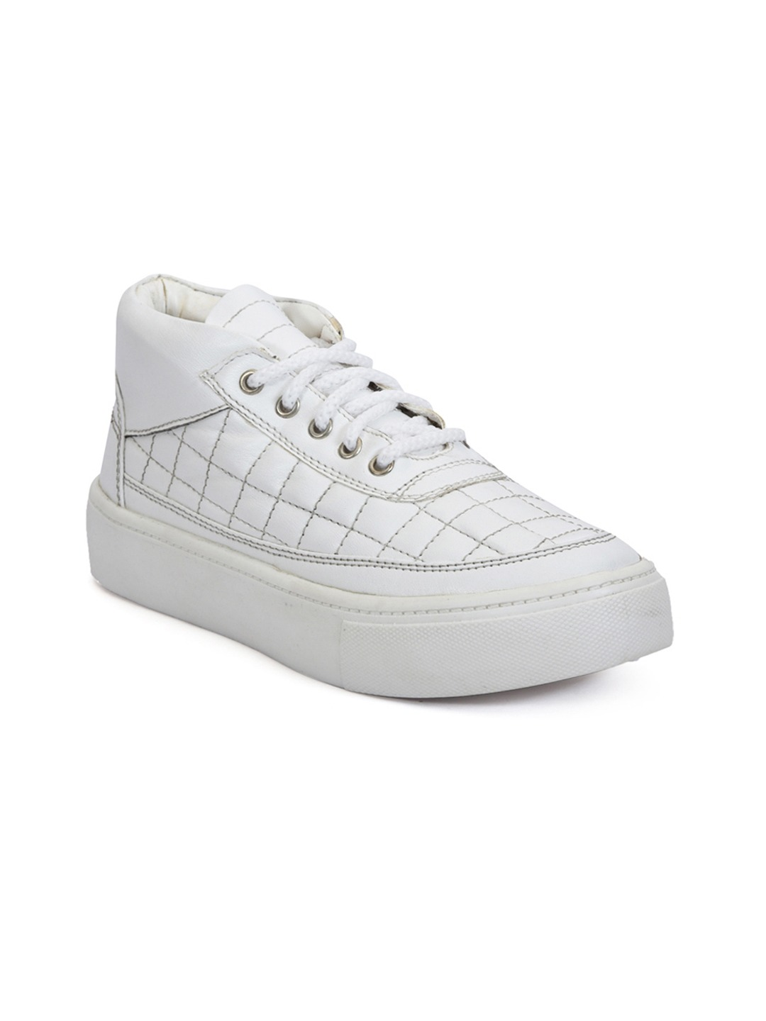 White Textured Synthetic Leather Mid-Top Sneakers