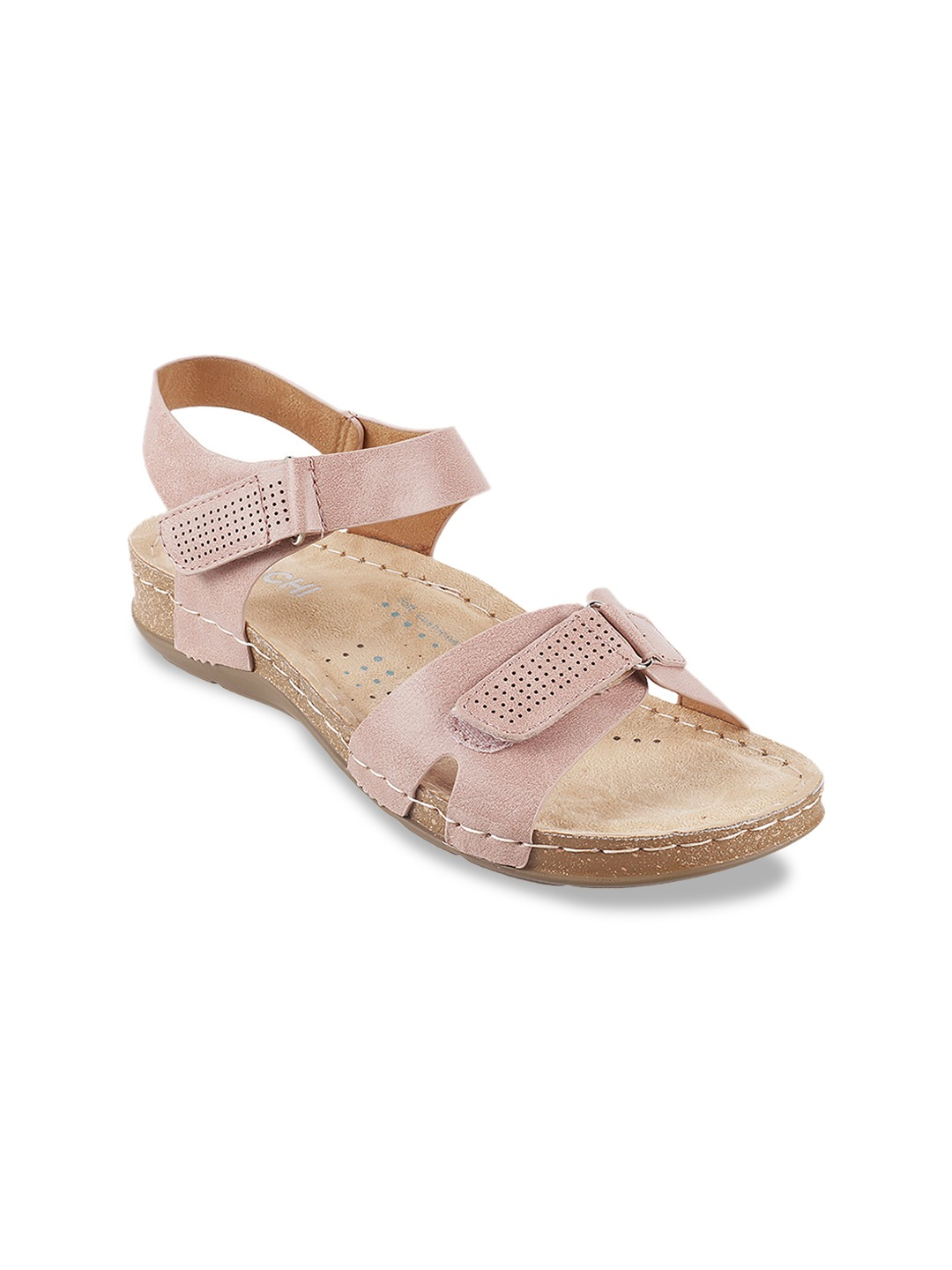 Pink Solid Open Toe Flats
