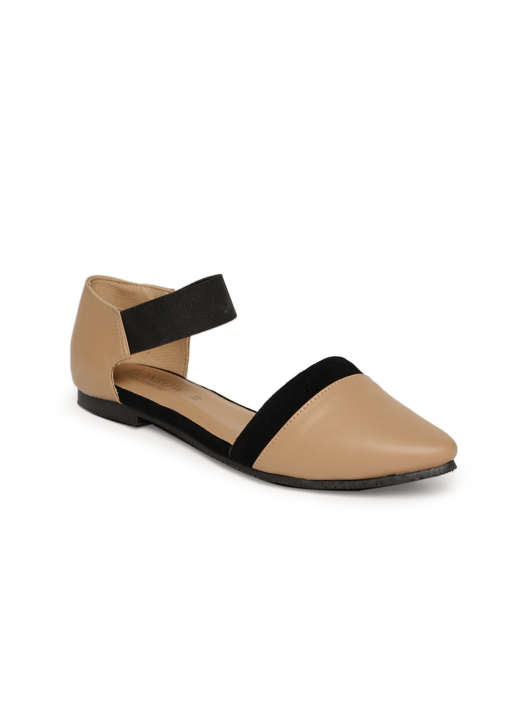 Brown Colourblocked Synthetic Ballerinas