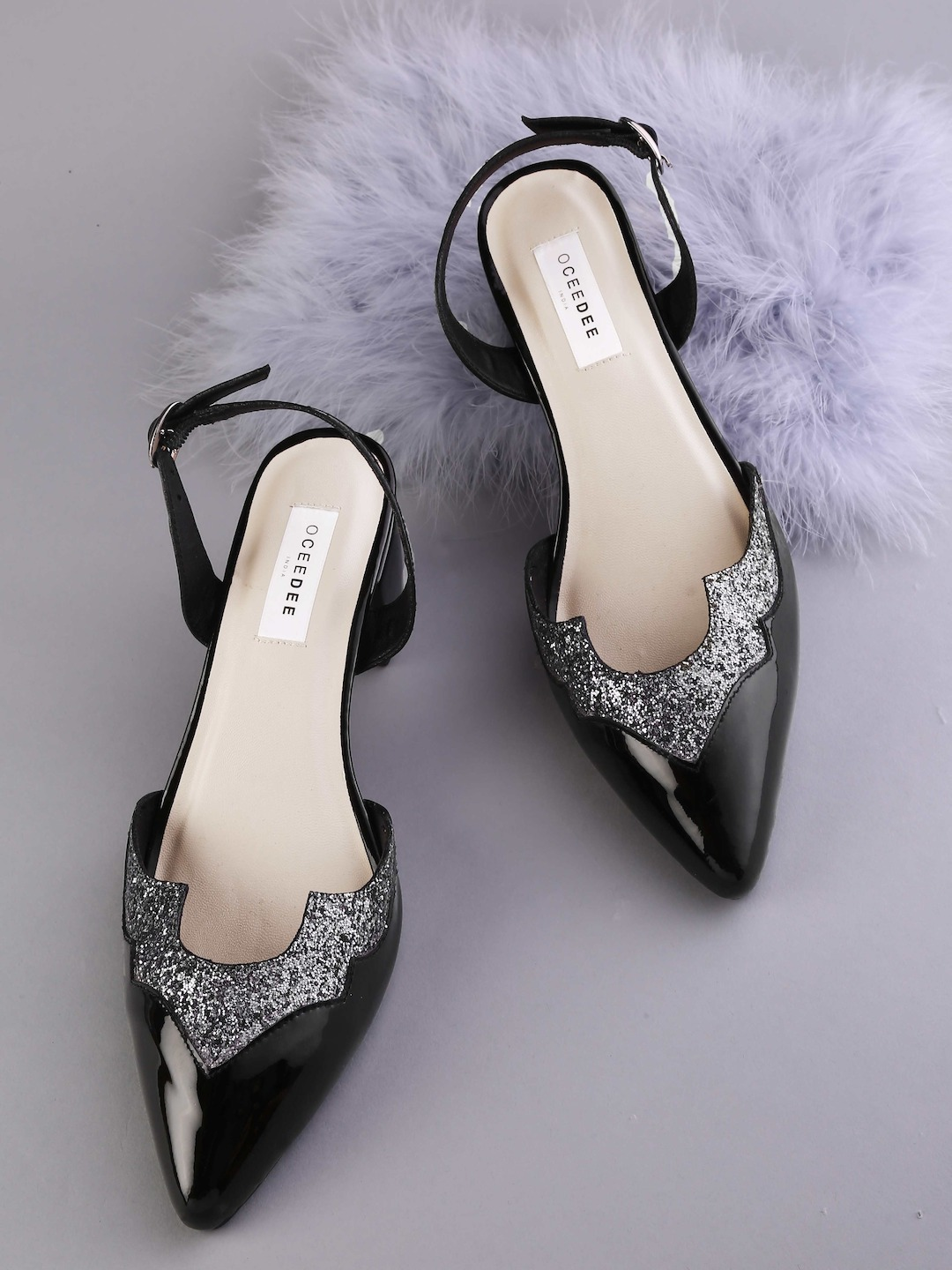 Black & Gunmetal-Toned Colourblocked Pumps