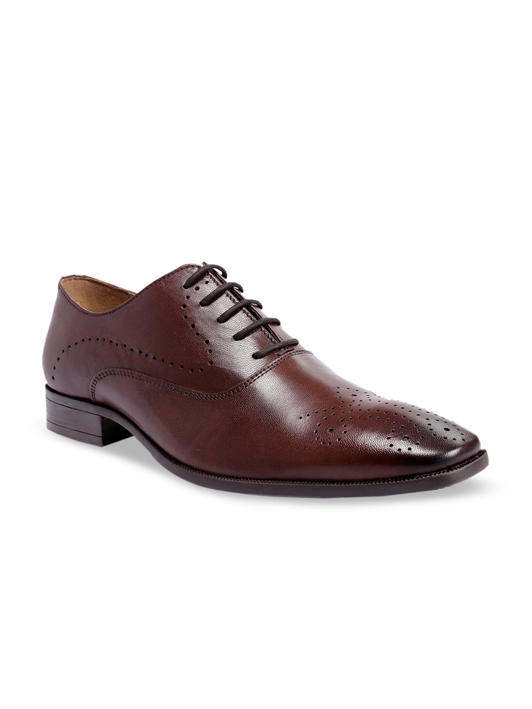 Brown Solid Leather Formal Oxfords